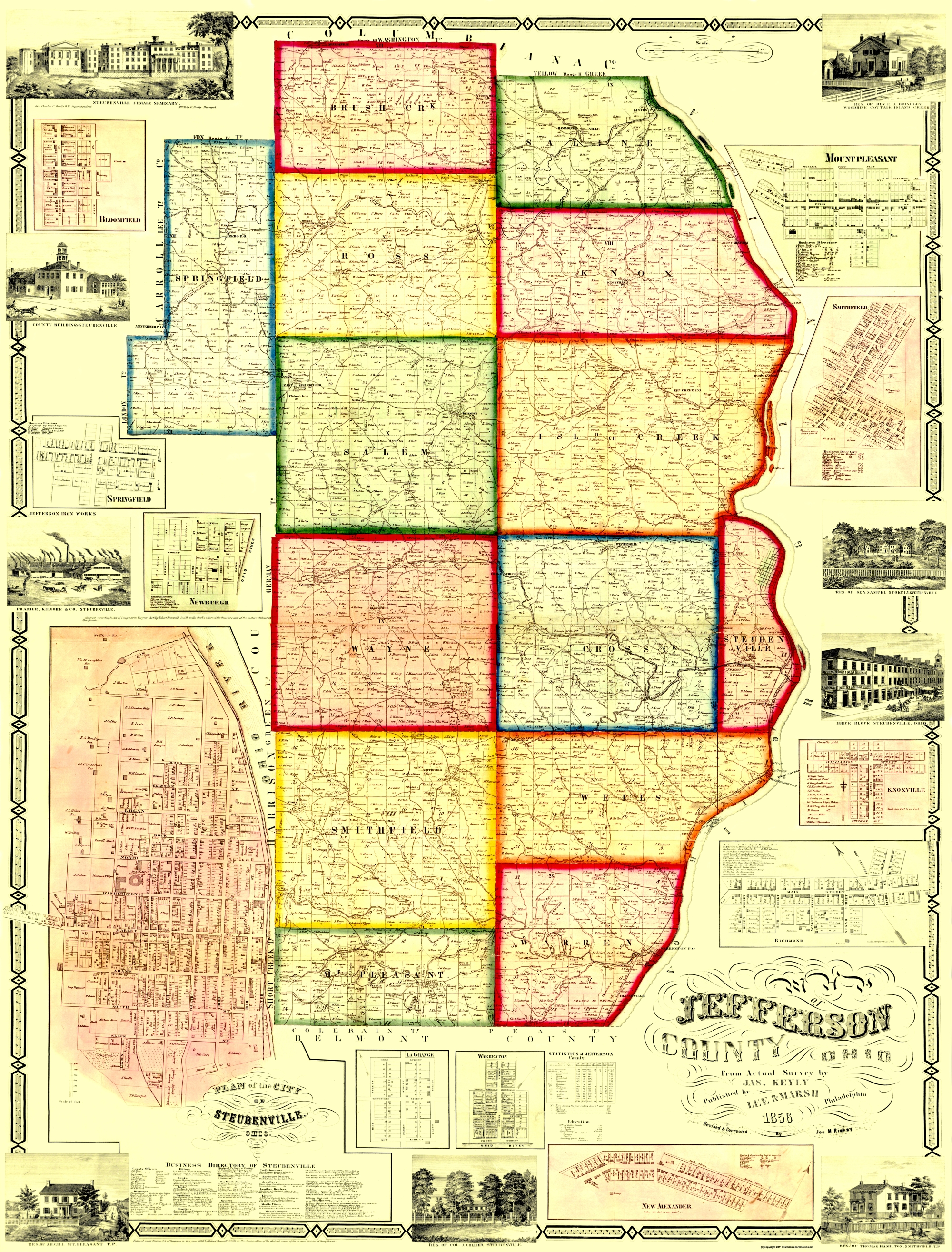 Old County Map Jefferson Ohio Landowner 1856