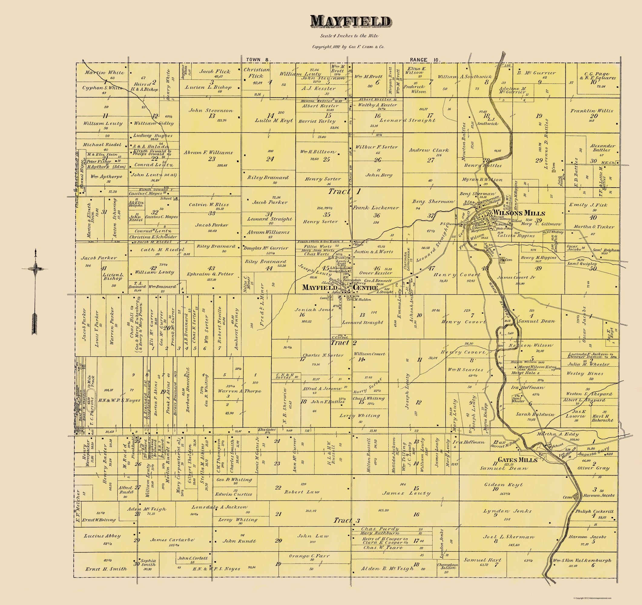 Mayfield Ohio Map.Old City Map Mayfield Ohio Landowner Cram 1892