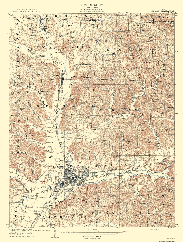 Old Topographical Map Newark Ohio 1909