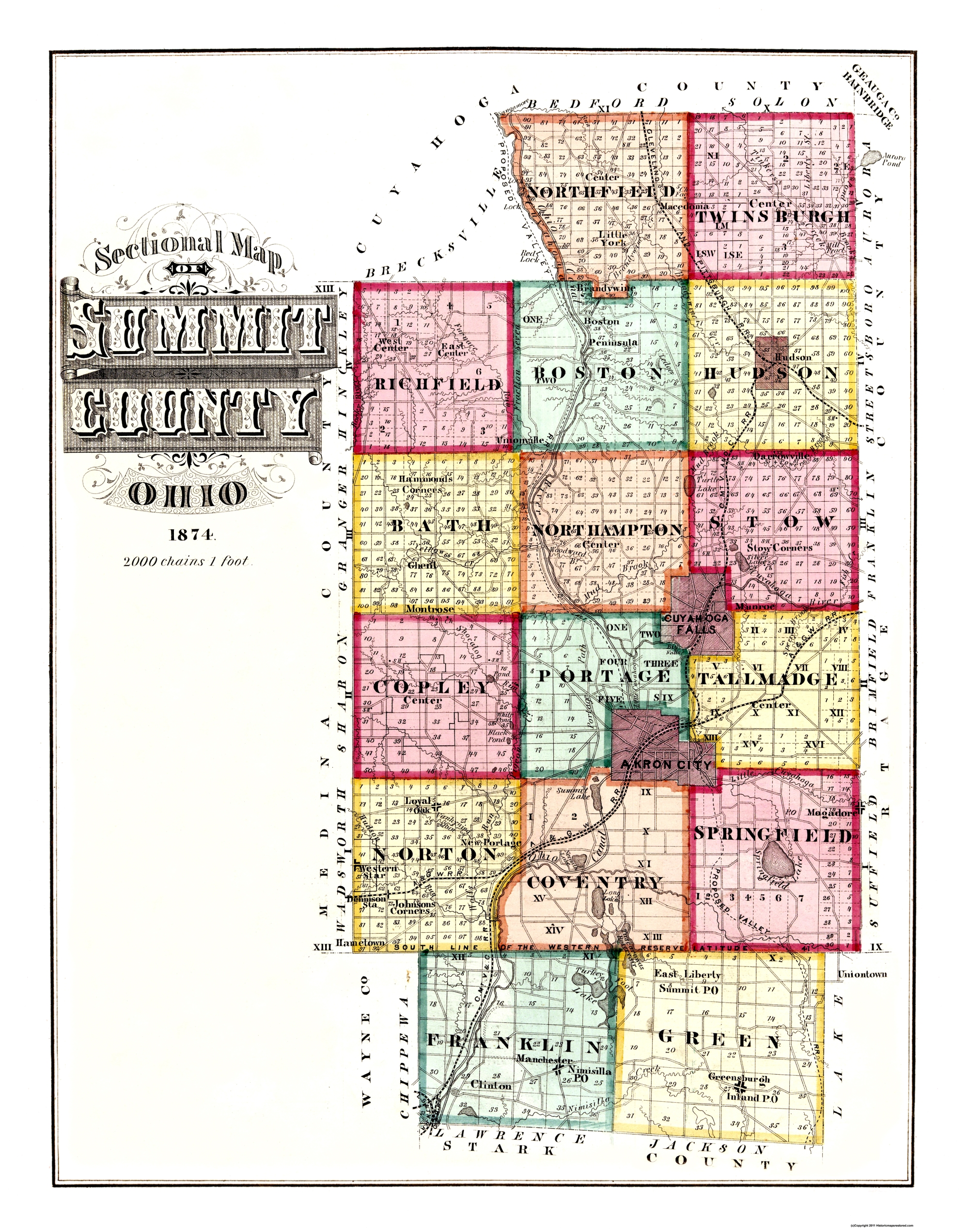 Old County Map Summit Ohio 1874