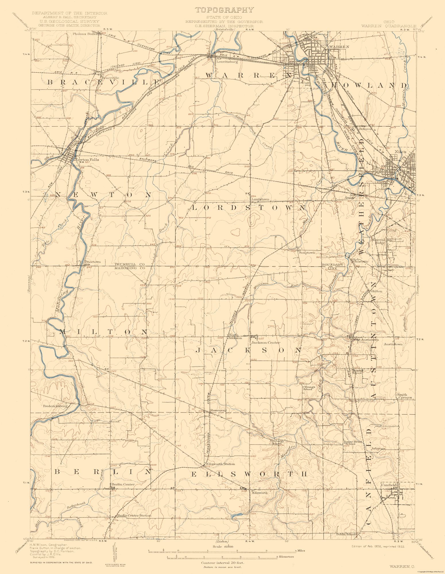 Historical Topographical Maps Warren Ohio Quad Usgs 1908 23 X