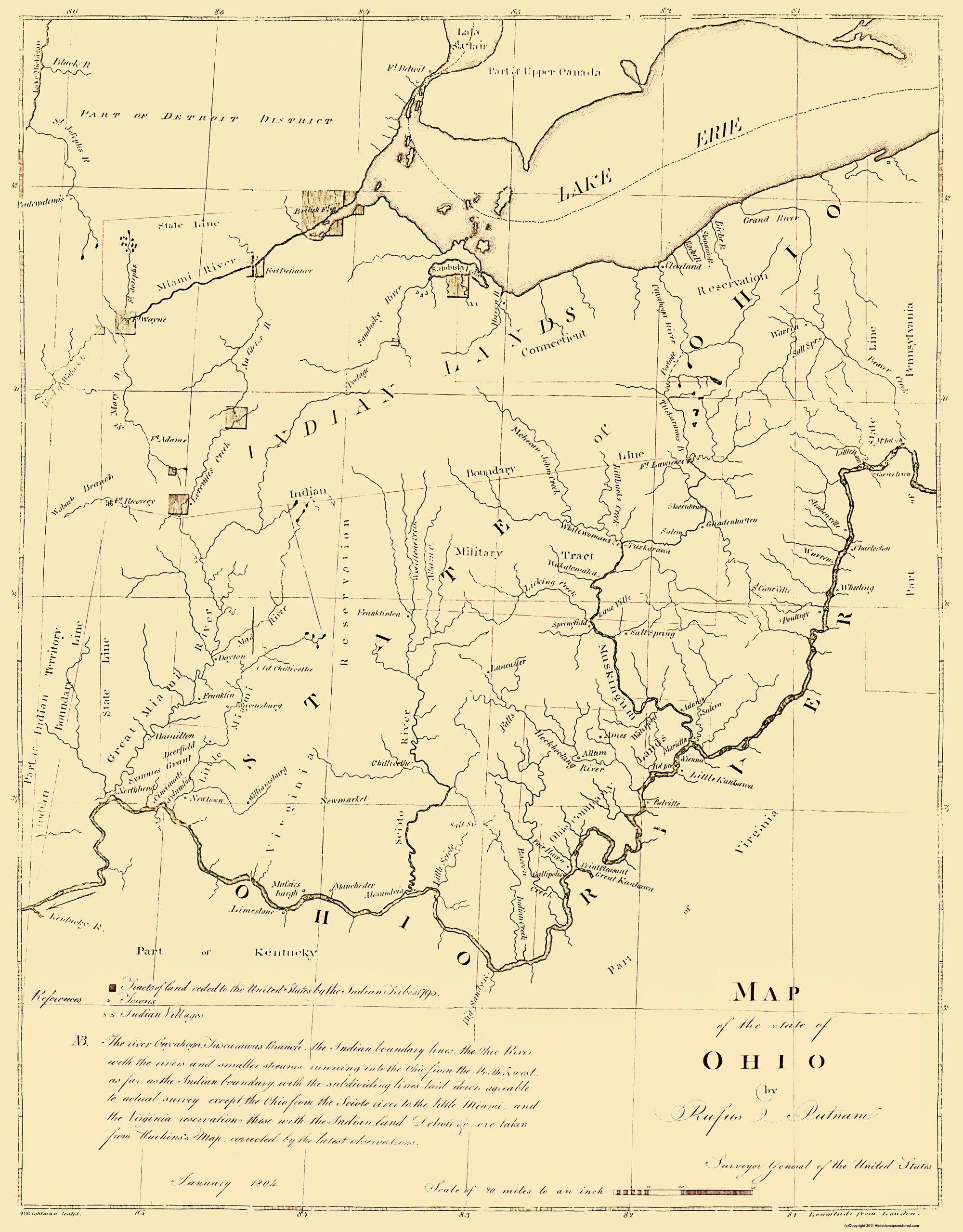 Ohio On State Map.Old State Map Ohio Putnam 1804