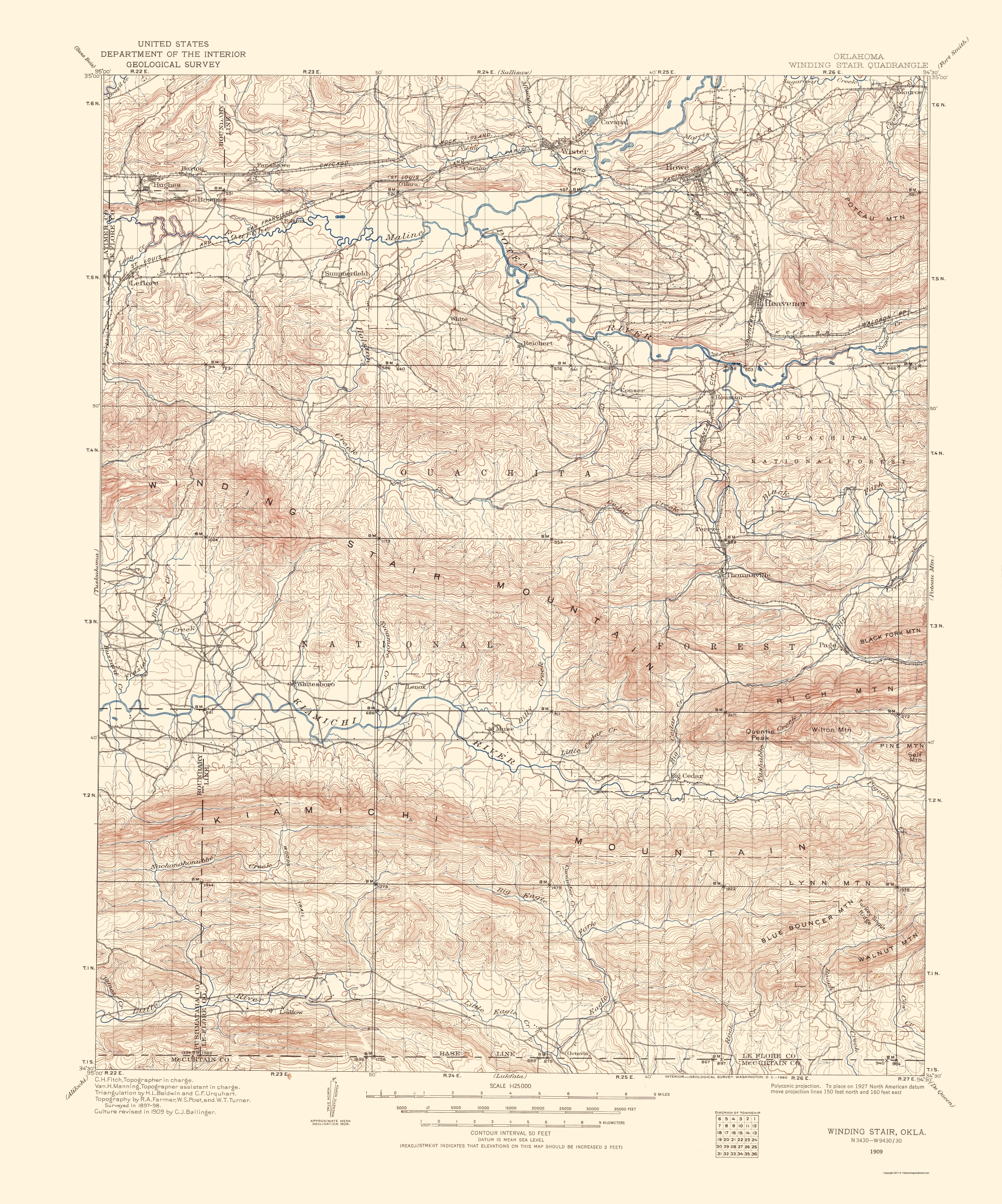 Topographical Map Print - Winding Stair Oklahoma - USGS 1960 - 23 x 27.63