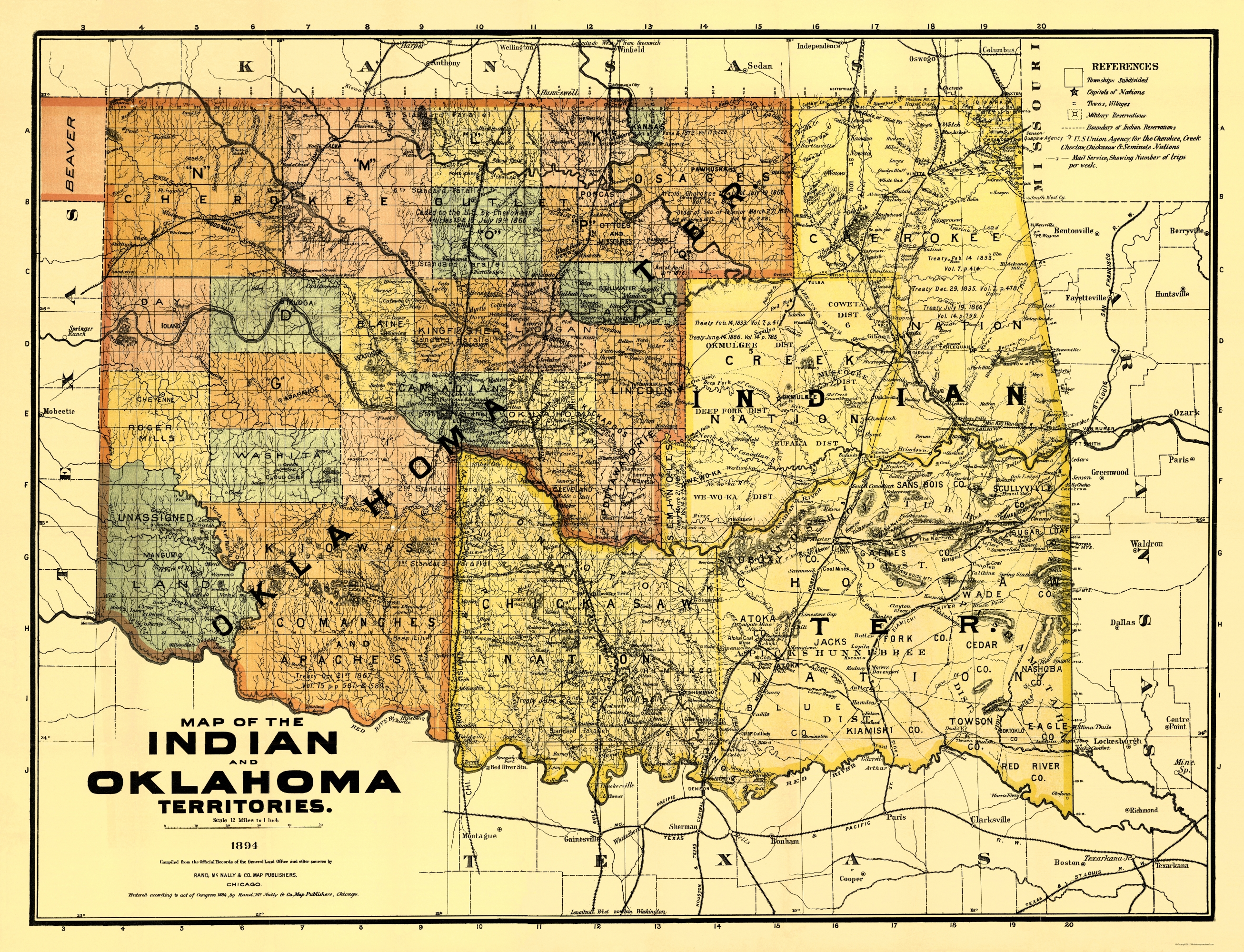 old map oklahoma indian territory 1894