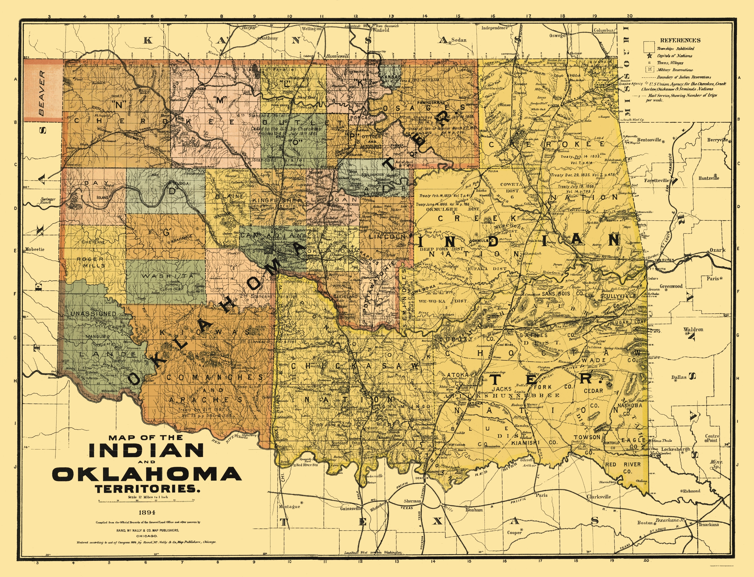 Old State Map - Oklahoma Indian Territory 1894