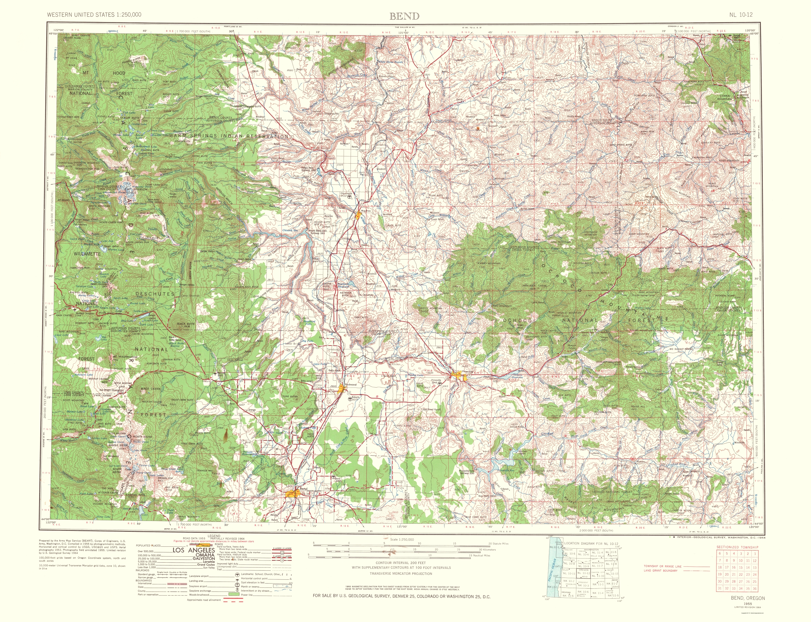 Old Topographical Map Bend Oregon 1964
