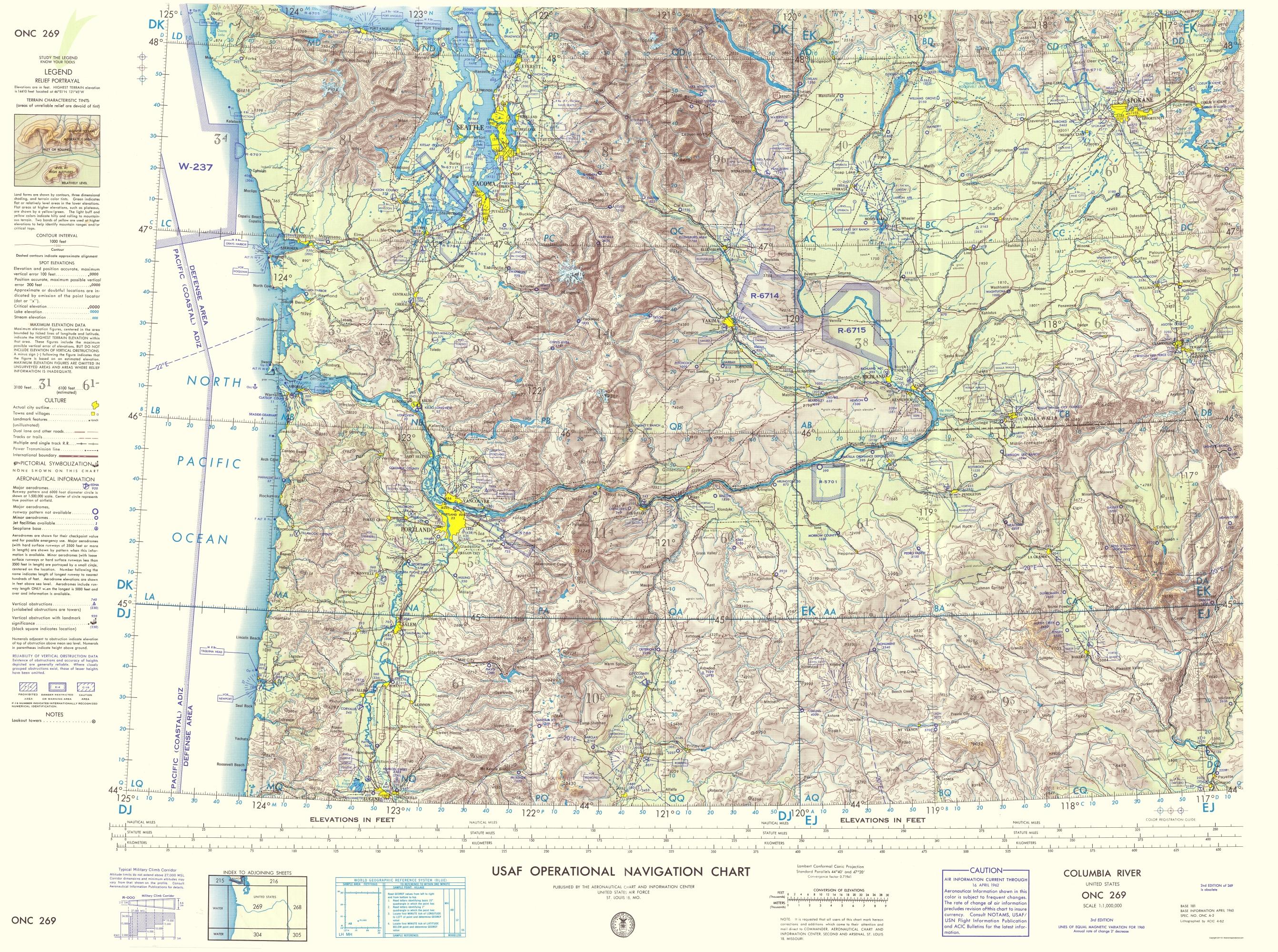 Topographical Map  Columbia River Idaho Oregon