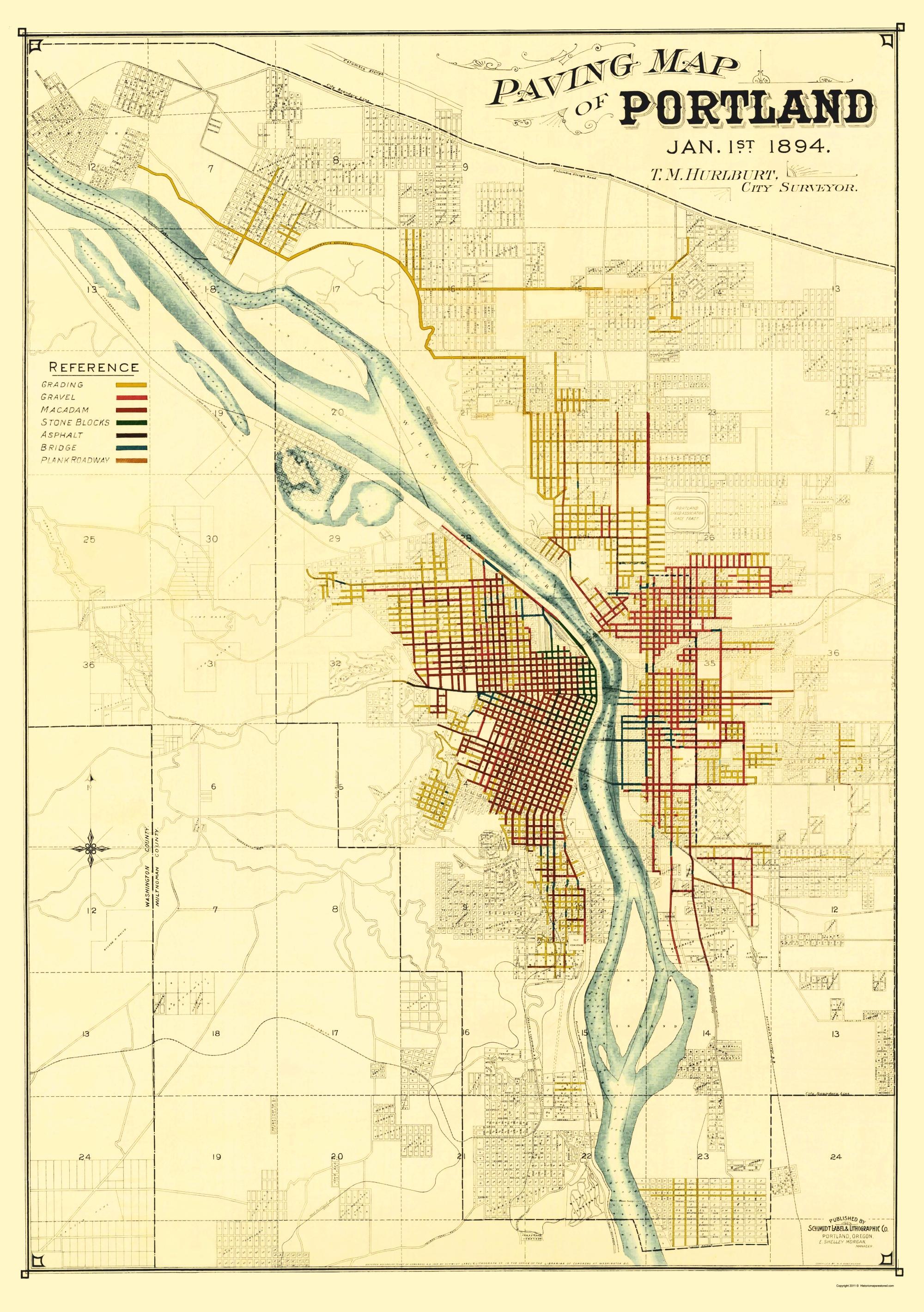 Old City Map - Portland Oregon Paving - Schmidt 1894 City Map Of Portland Oregon on