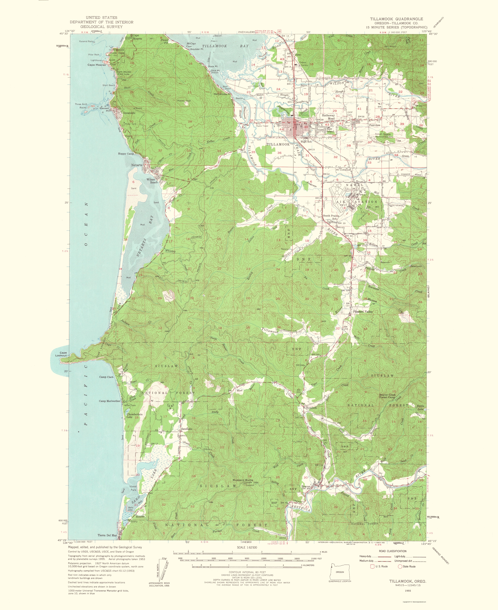 Old Topographical Map Tillamook Oregon 1963