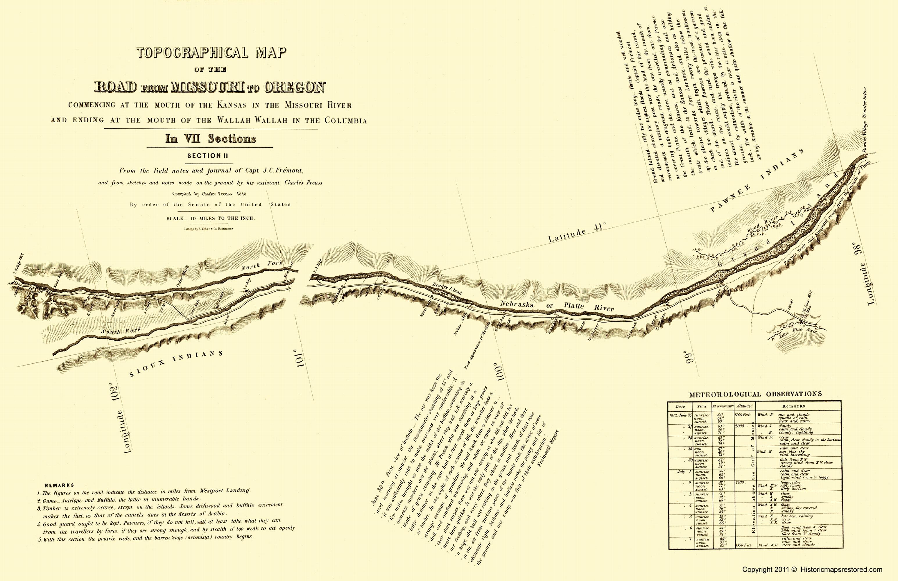 Old Topographical Map  Oregon Trail Nebraska 1846