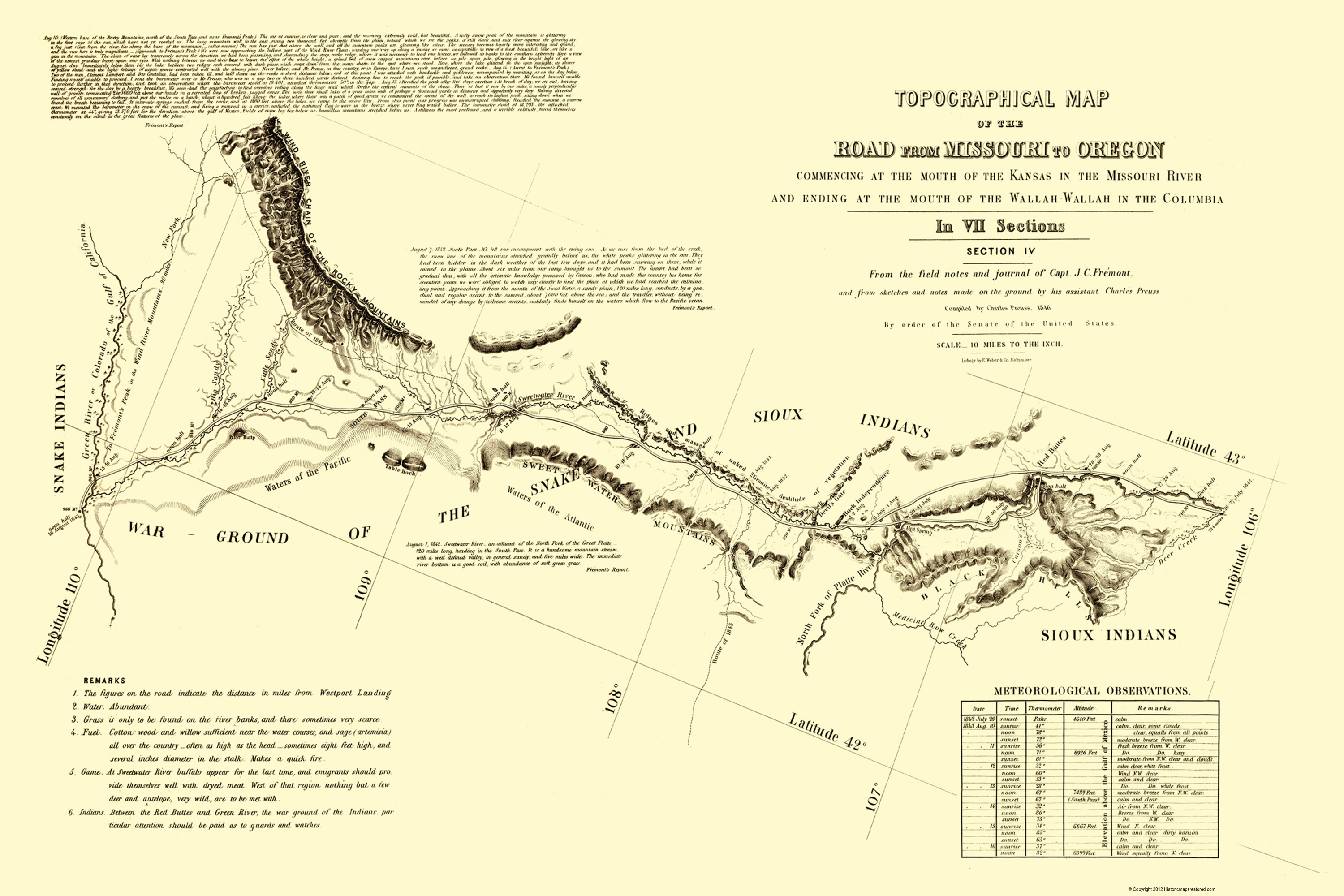 Topographical Map - Oregon Trail Wyoming 1846