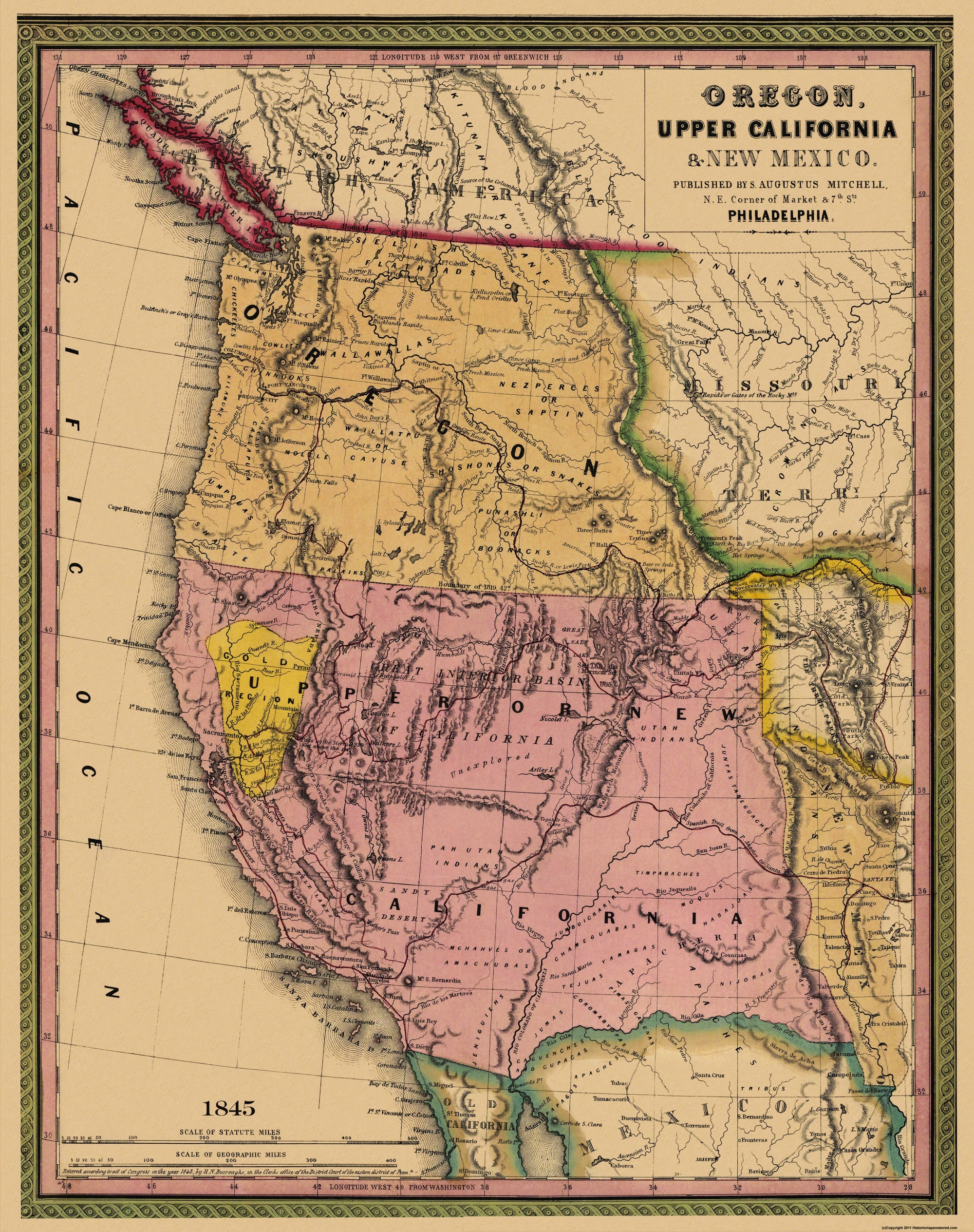 Old State Map Oregon Upper California - 1845 us map