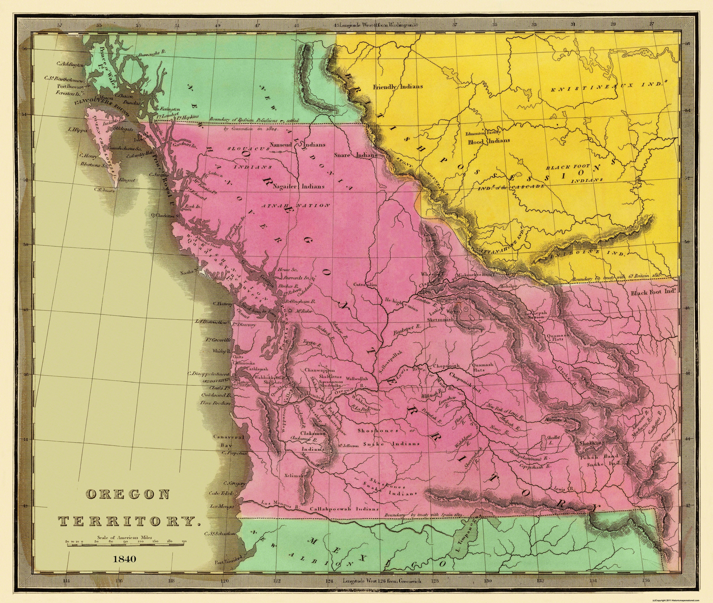 Old State Map Oregon Territory Greenleaf - Fort clatsop on map of us