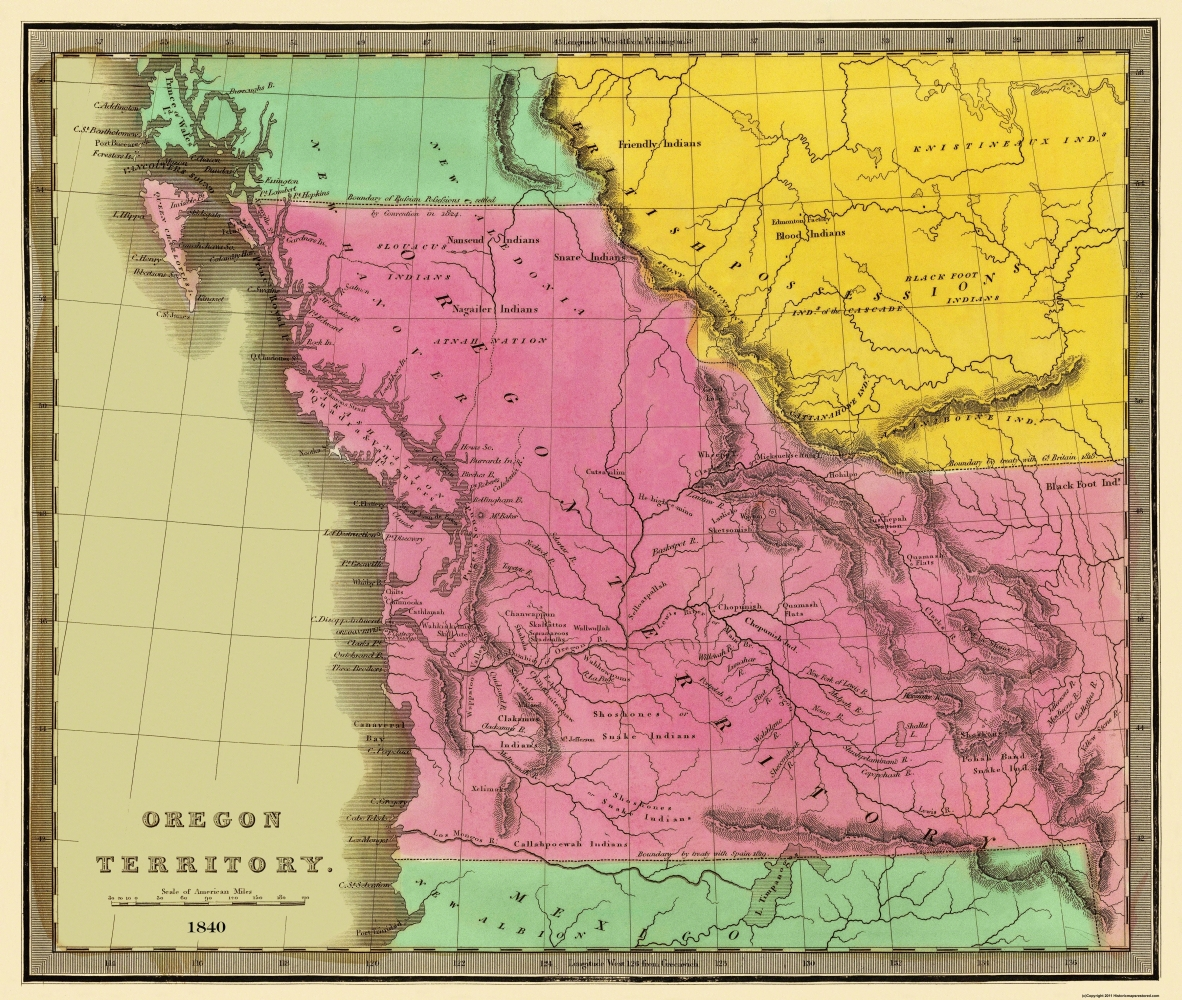 Old State Map Oregon Territory Greenleaf - Oregon on the us map