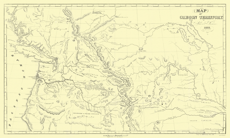 Old State Map - Oregon Territory - Parker 1838 - 23 x 38.10 on