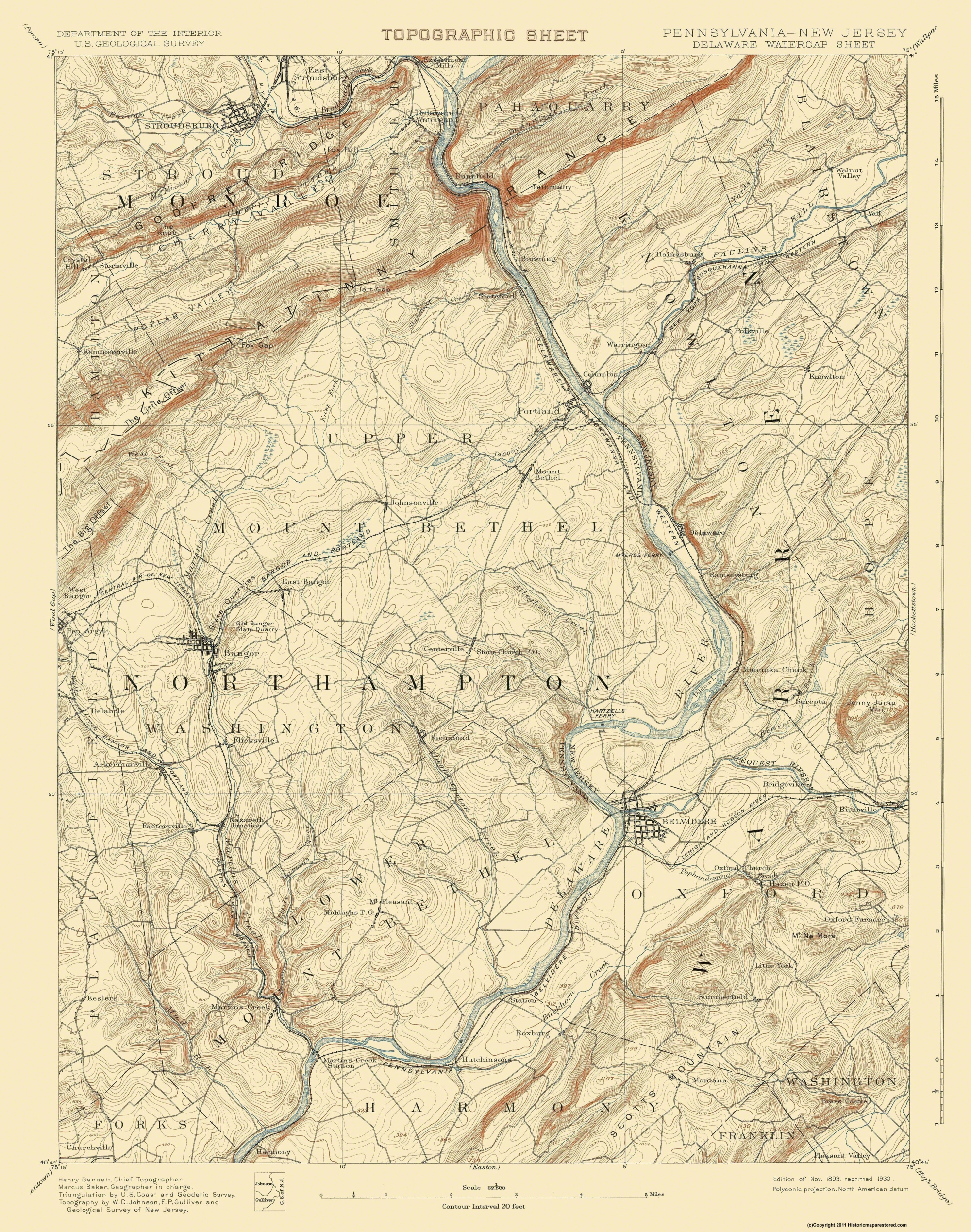 Old Topographical Map Delaware Watergap 1893