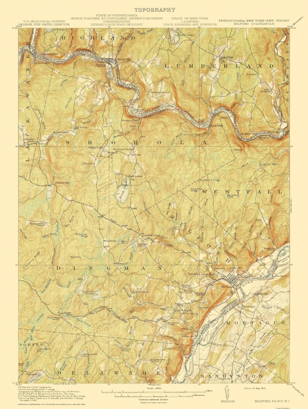 Topographical Map - Milford Pennsylvania, New Jersey, New York 1915 - 23 x  30