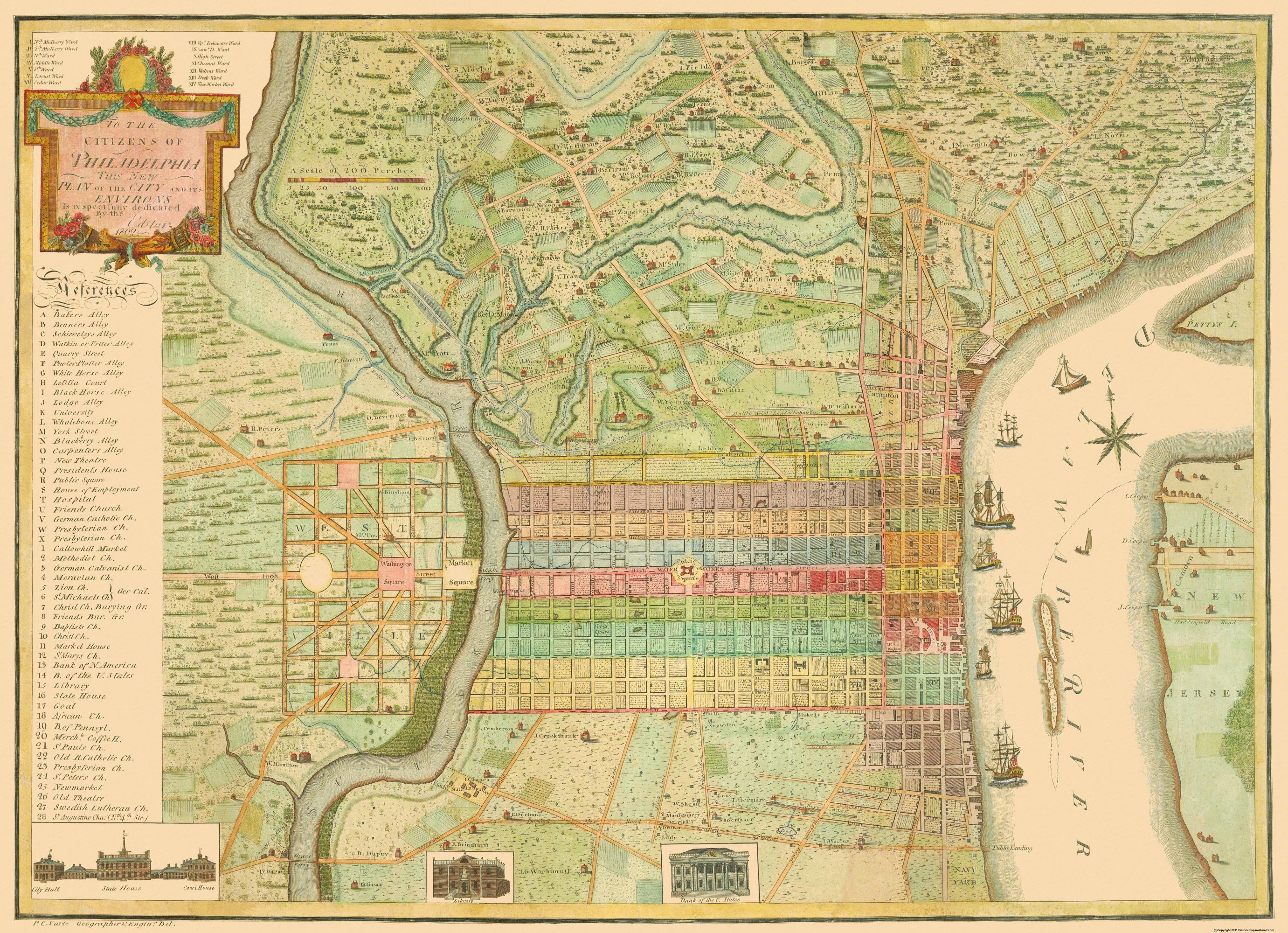 Old City Map - Philadelphia Pennsylvania Landowner - 1802