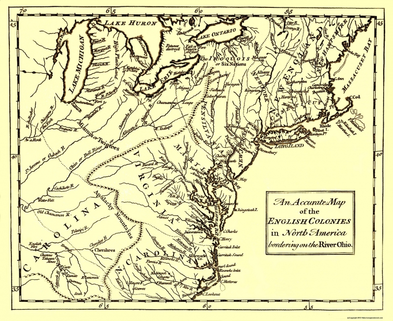 Old War Map - English Colonies Bordering the Ohio River 1750 - 23 x United States Map on united states in 1790, russia map 1750, 13 colonies map 1750, united states before louisiana purchase, italy map 1750, united states in 1890, england map 1750, new york colonial map 1750, united states historical maps, usa map 1750, united states outline, united states interstate system, south america map 1750, south carolina map 1750, land claims in north america map 1750, united states of america colonies, germany map 1750, united states 1870s timeline, virginia map 1750, africa map 1750,
