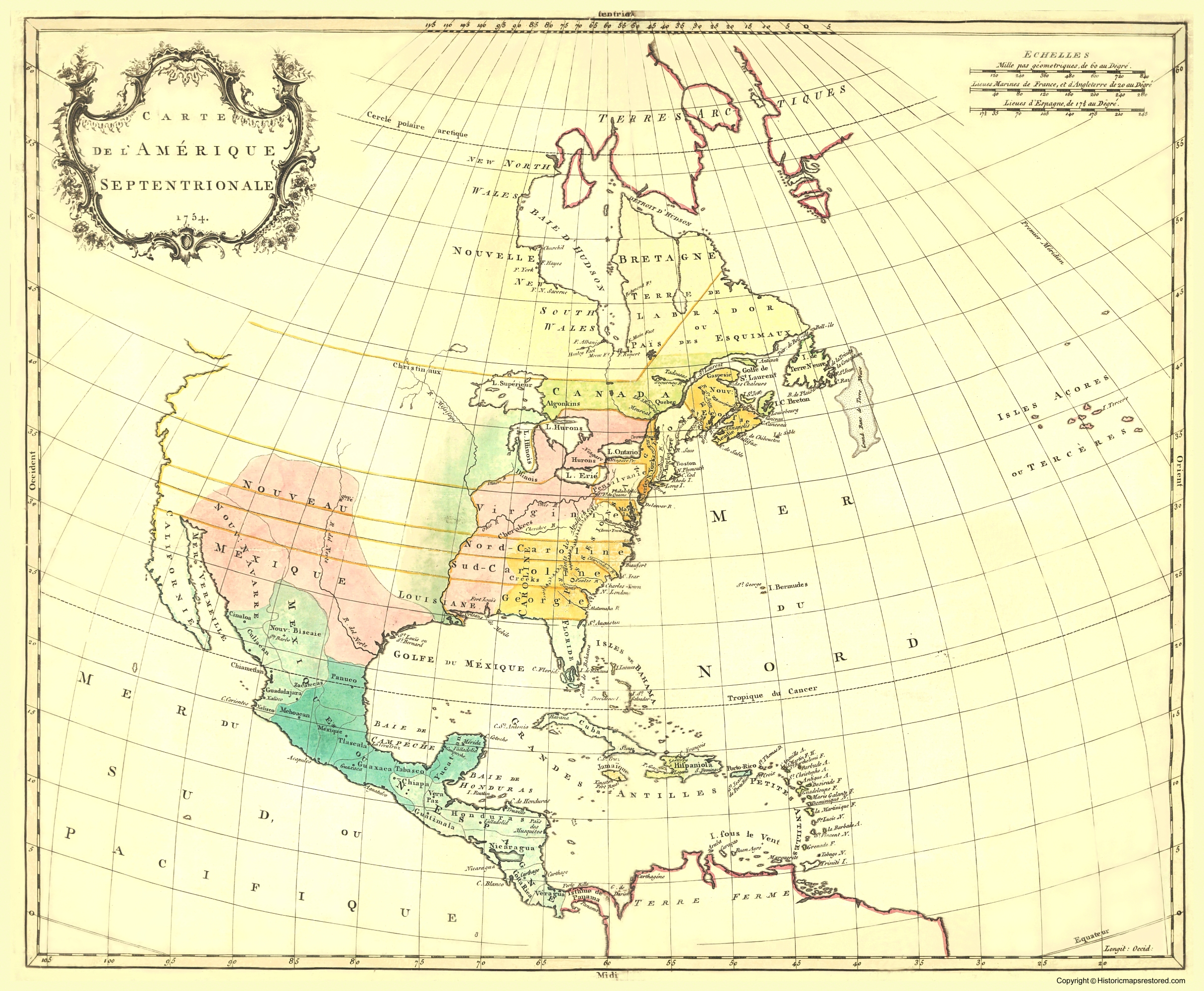 Old Revolutionary War Map - North America 1754 - 23 x 28.82 on tectonic map of north america, glacial map of north america, physiographic map of north america,