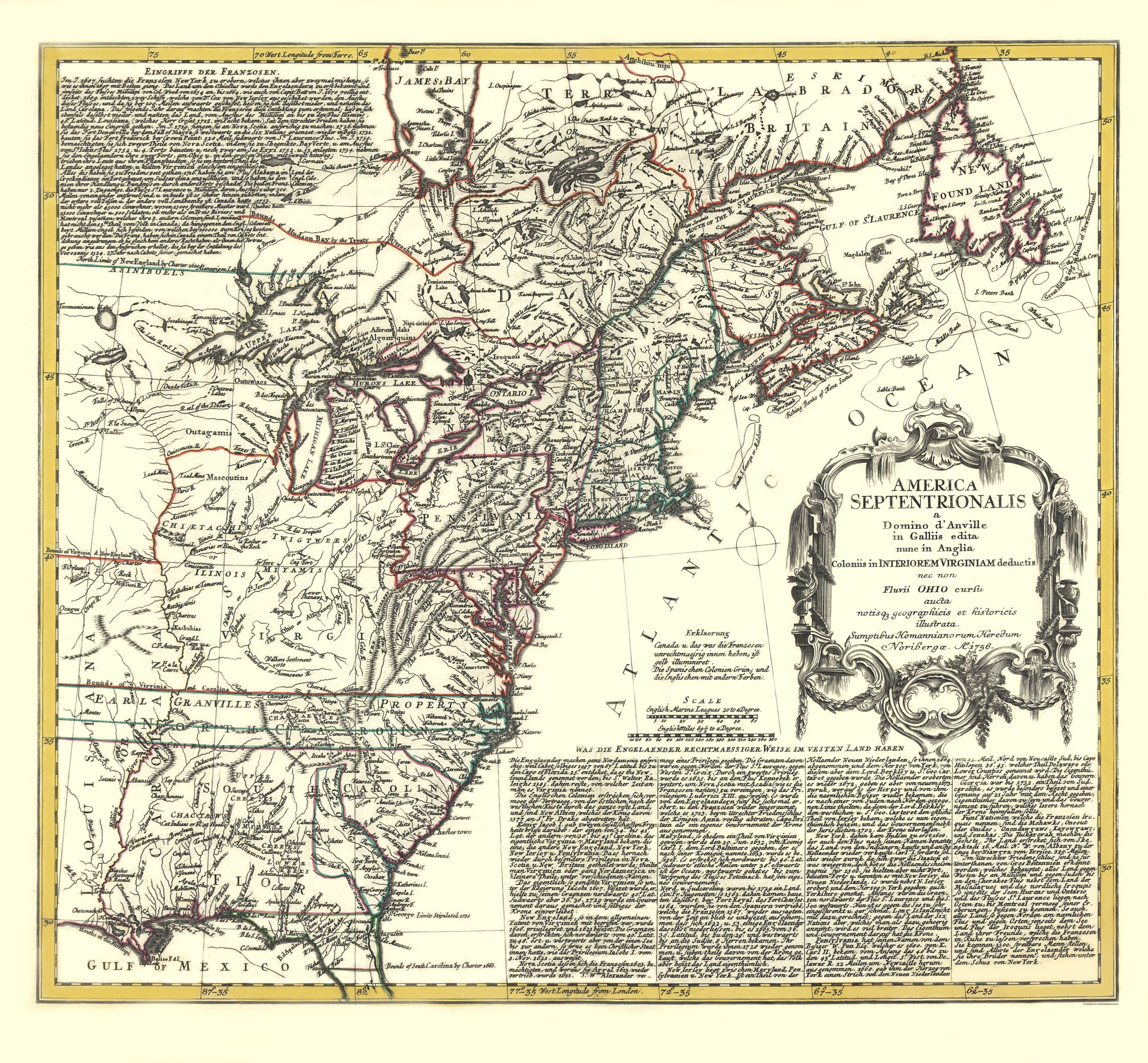 Revolutionary War Map Of New York.Old War Map North America And Virginia Colonies 1756