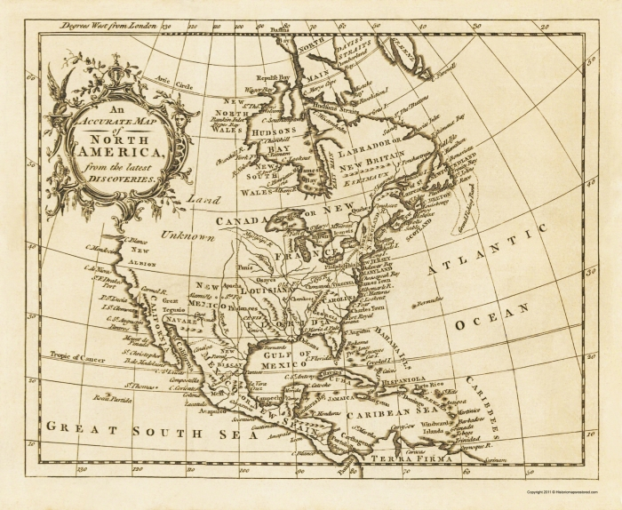 North America Map 1750.Old War Map North America Latest Discoveries 1750