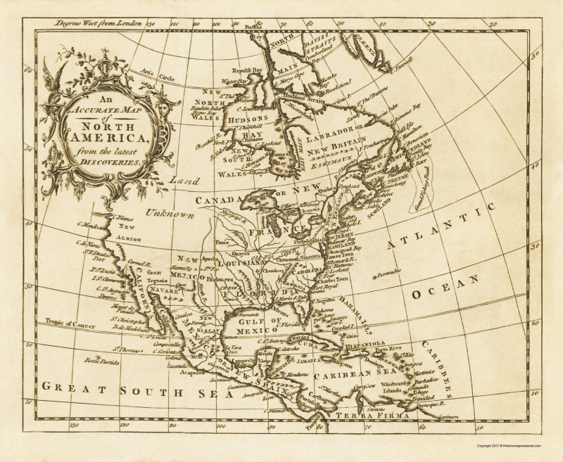 Map Of Old America.Old War Map North America Latest Discoveries 1750