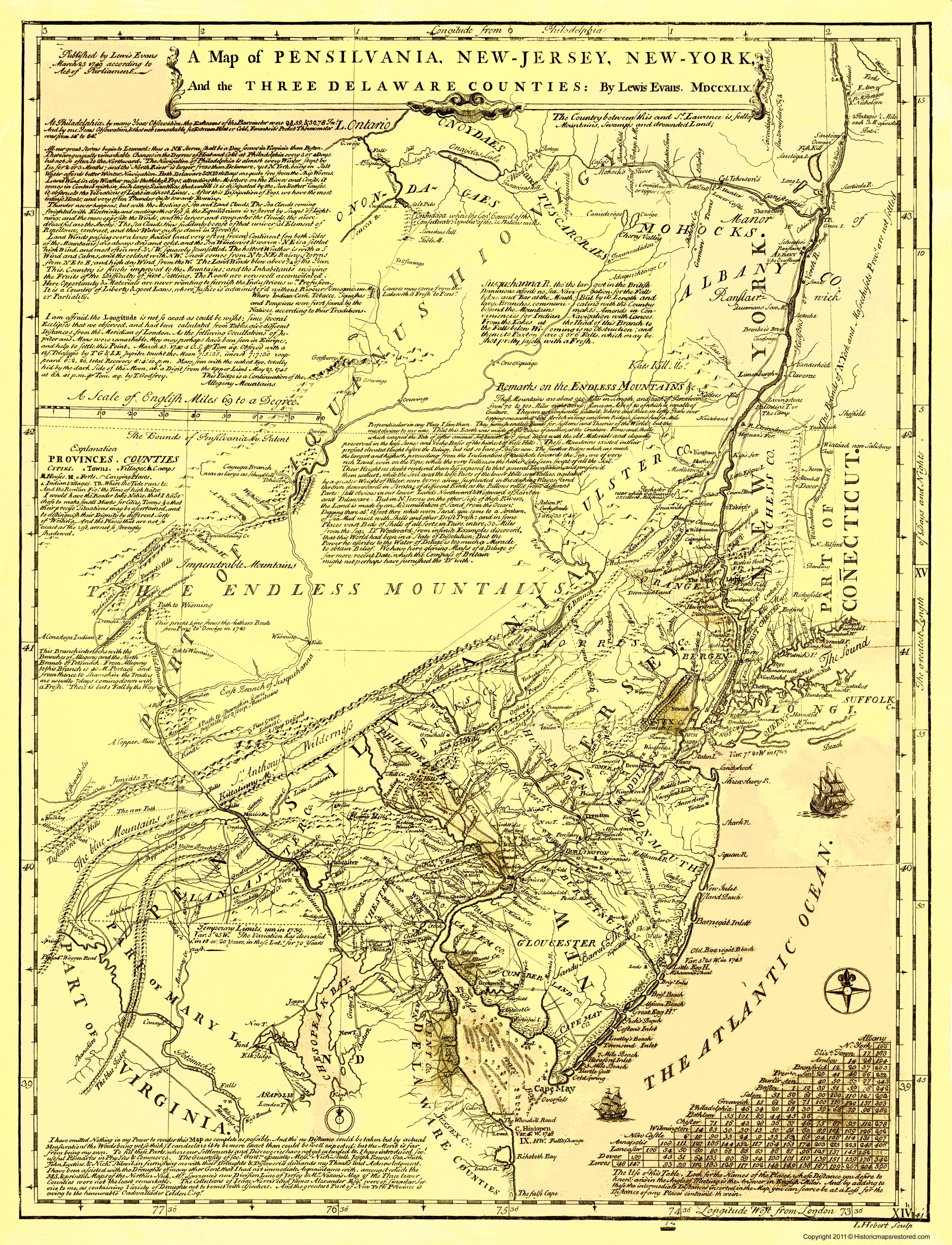 Old War Map - Pennsylvania and the 3 Delaware Counties Delaware Counties Map on