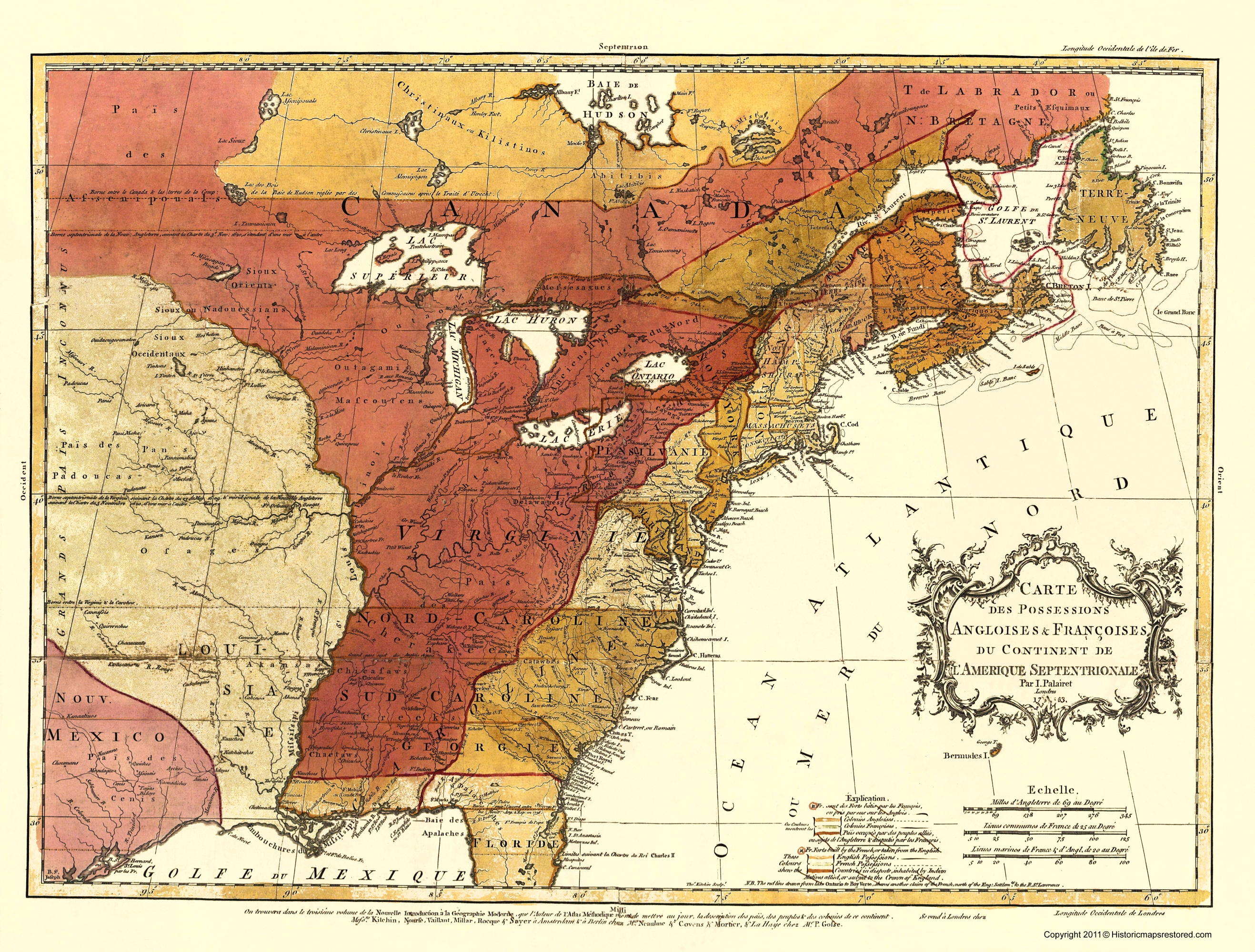 Old War Map French Possessions In North America - Map of us during 1763