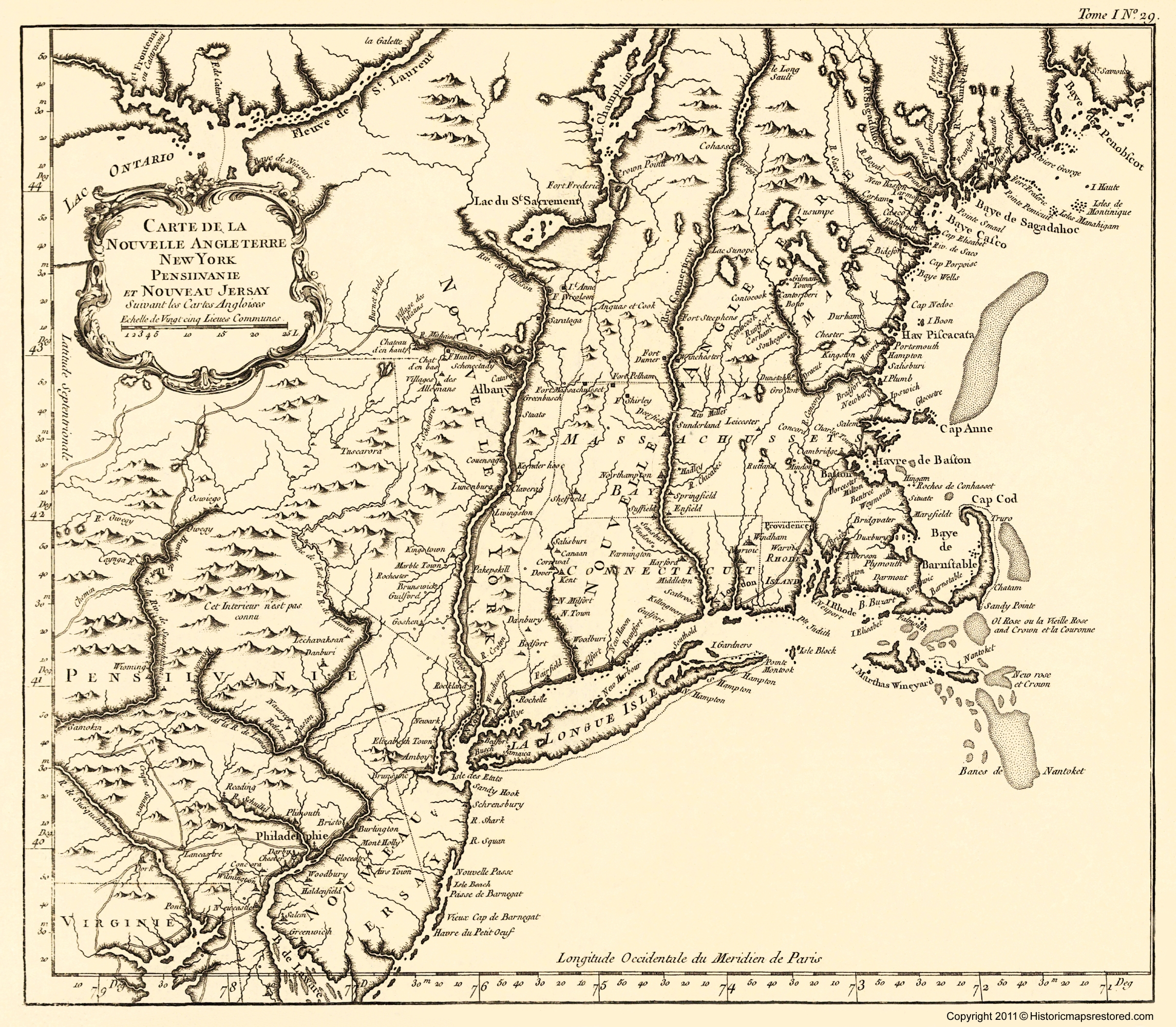 Old War Map - New York, Pennsylvania, and New Jersey 1757 - 23 x 26.33