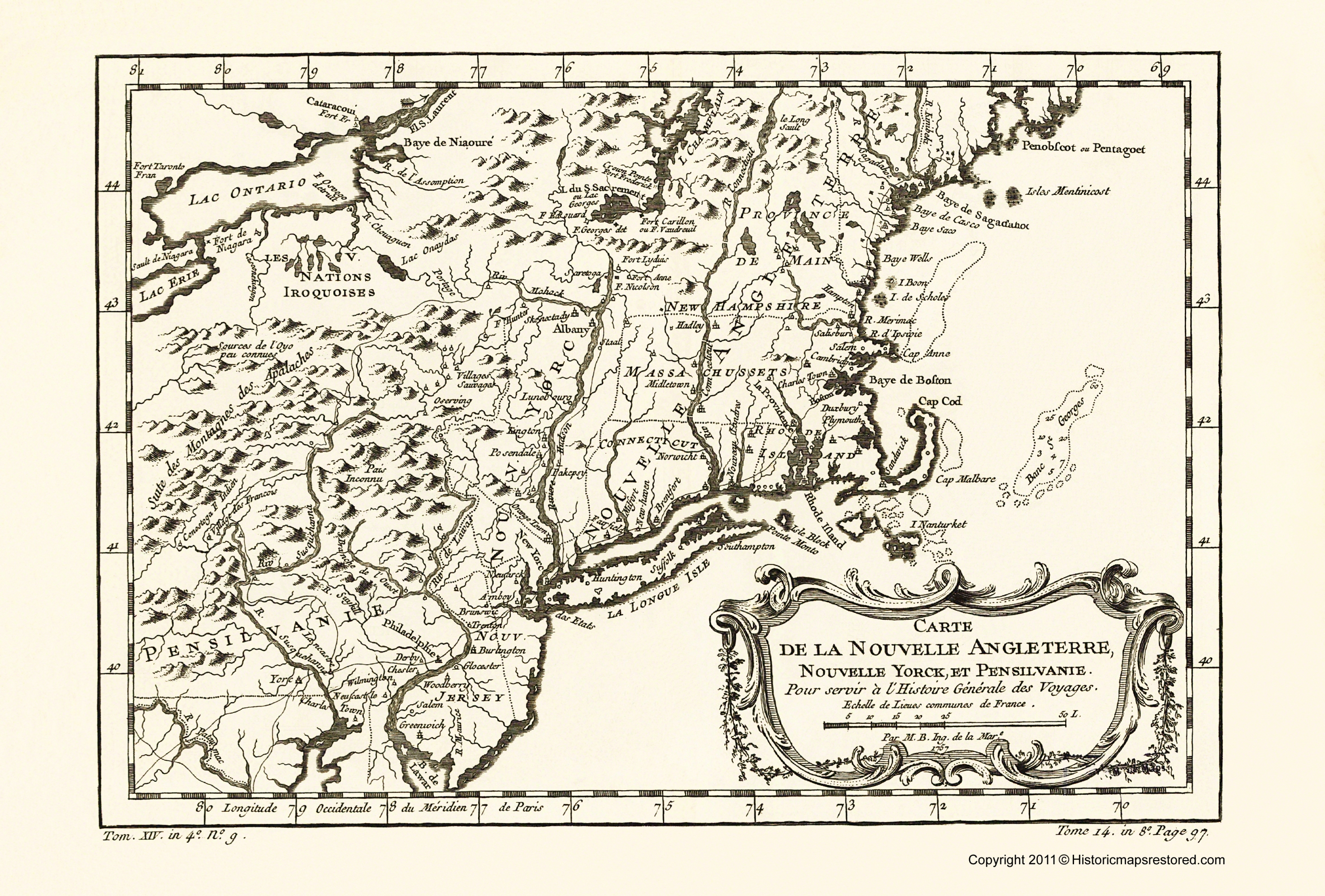 Old War Map New England New York Pennsylvania 1757