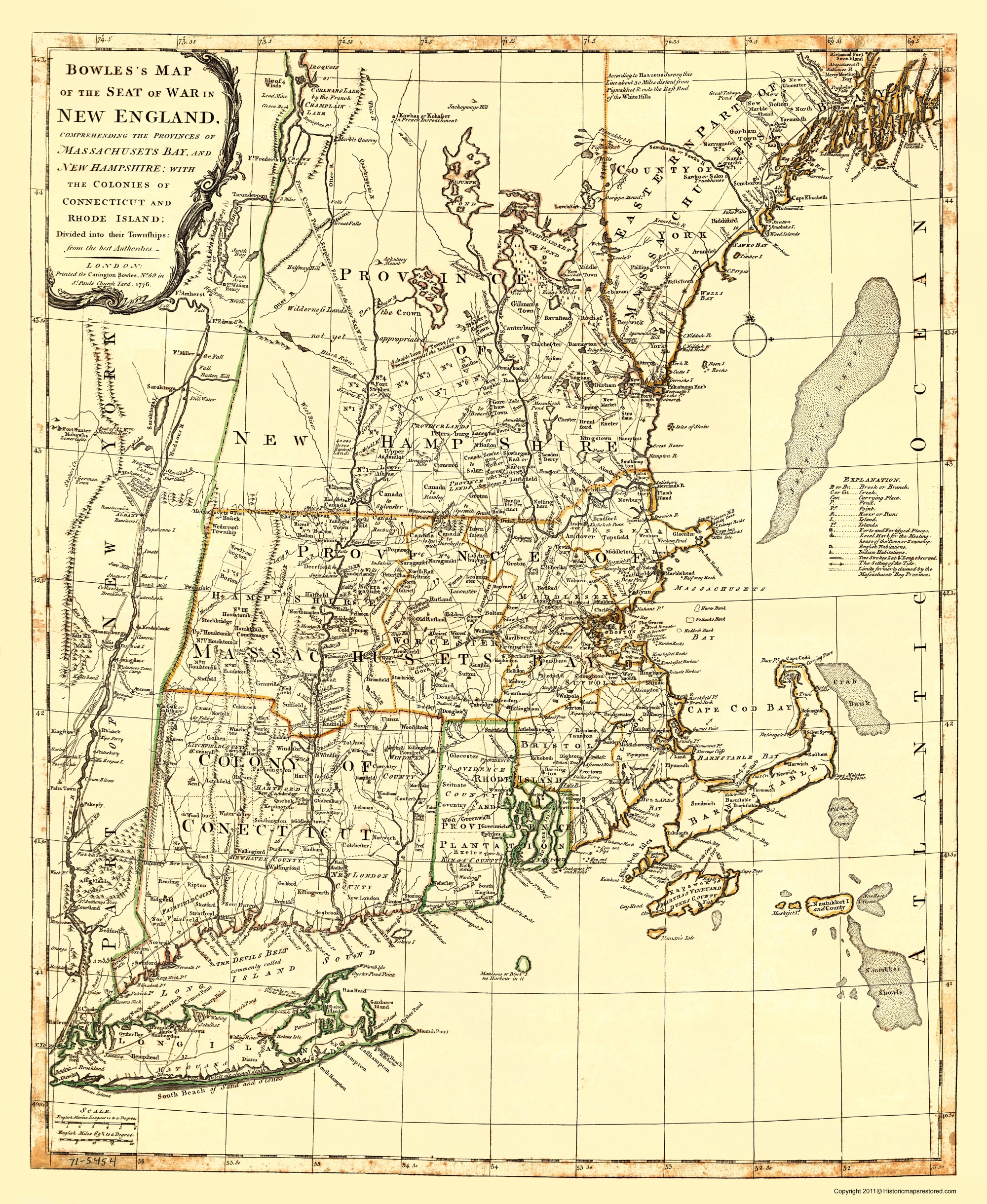 Old New England Map.Old War Map New England Seat Of War 1776