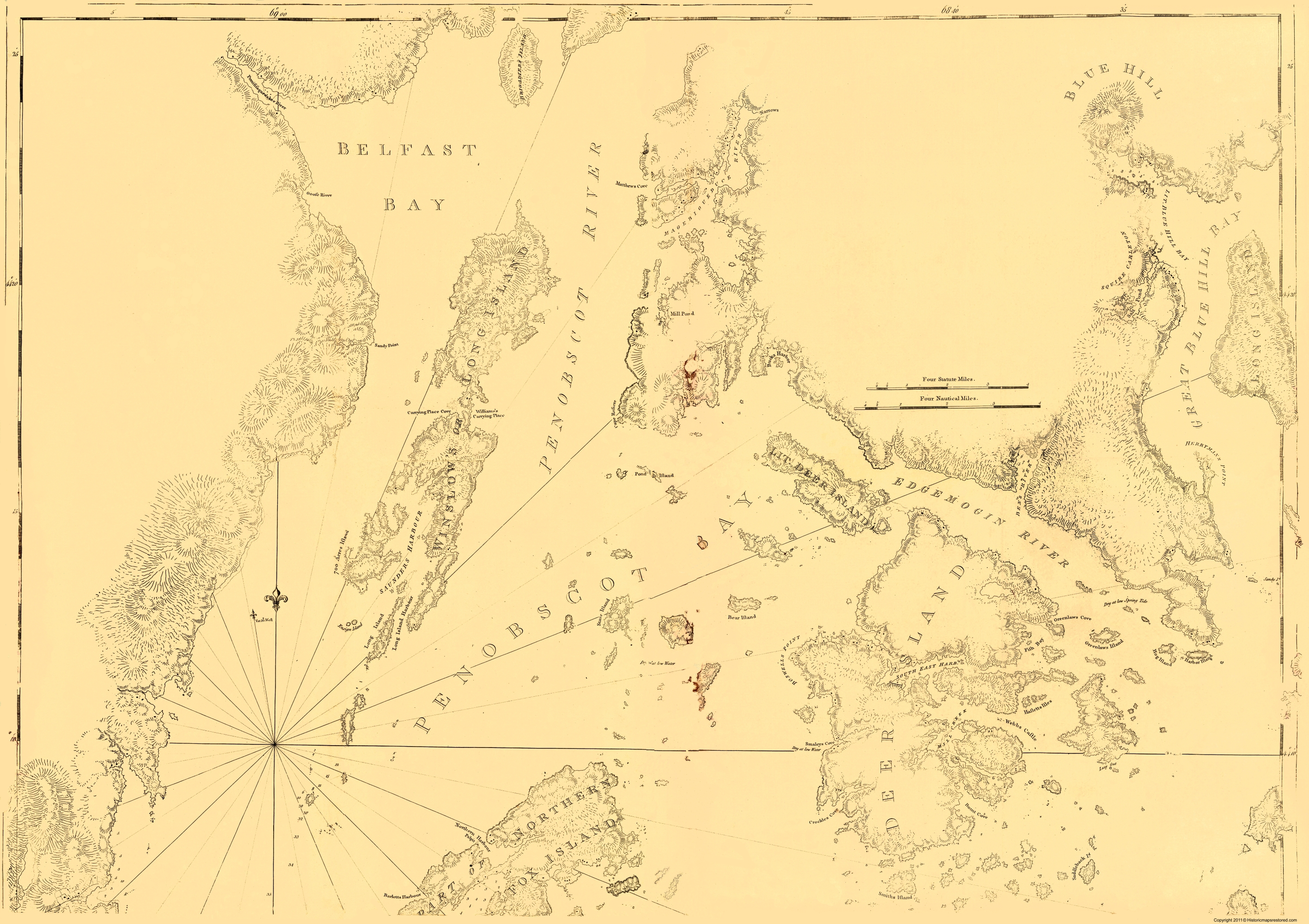 Old Maine Map.Old War Map Blue Hill To Belfast Bay Maine 1770