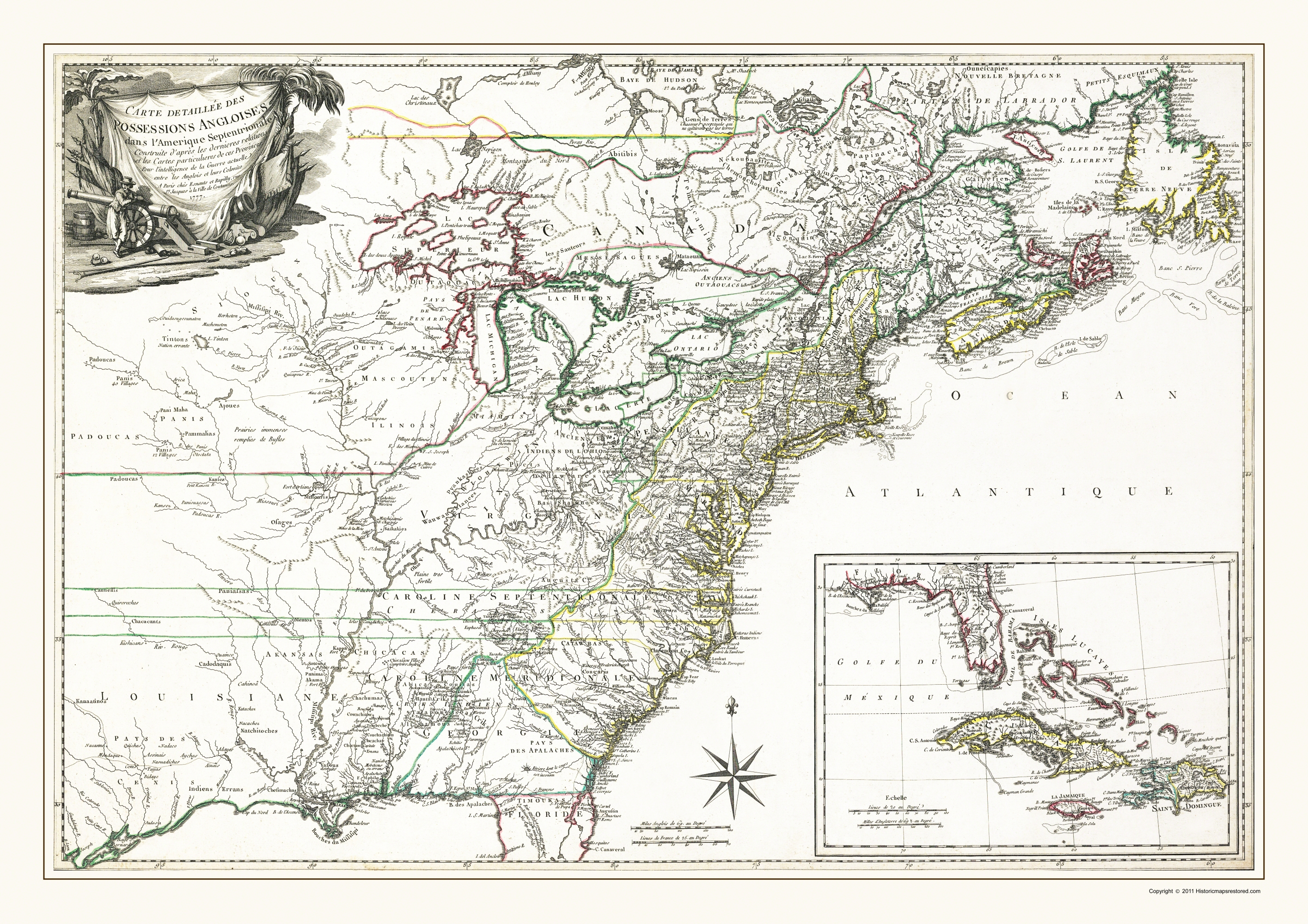 Map Of North America 1763.Old War Map English Possessions In North America 1763
