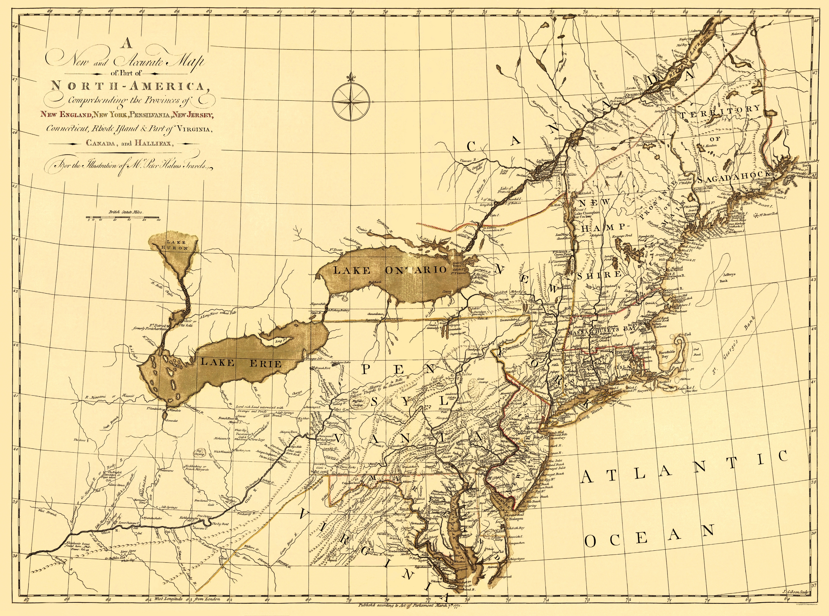 Old New England Map.Old War Map New England 1771