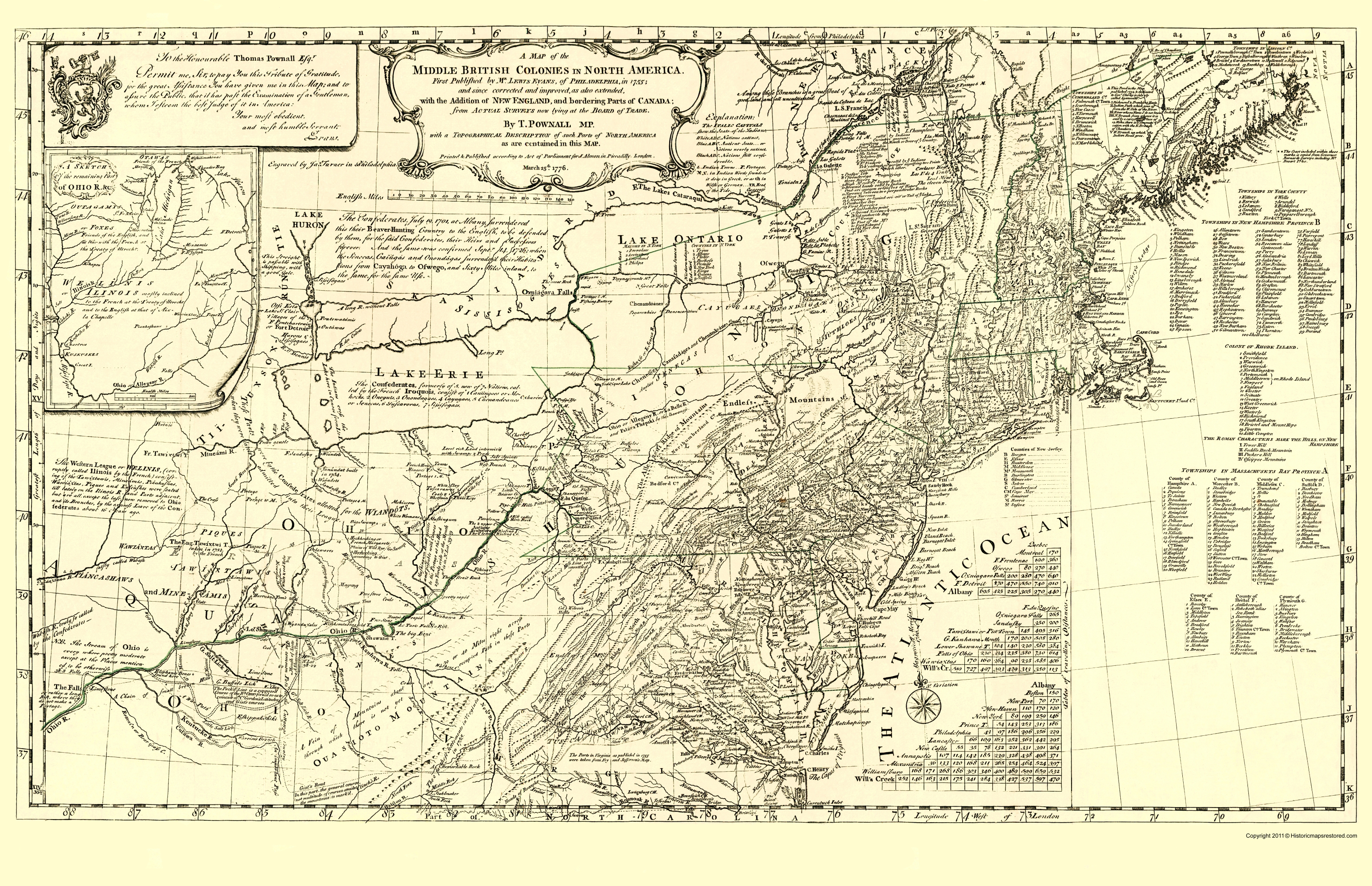 Old War Map British Colonies In North America 1776