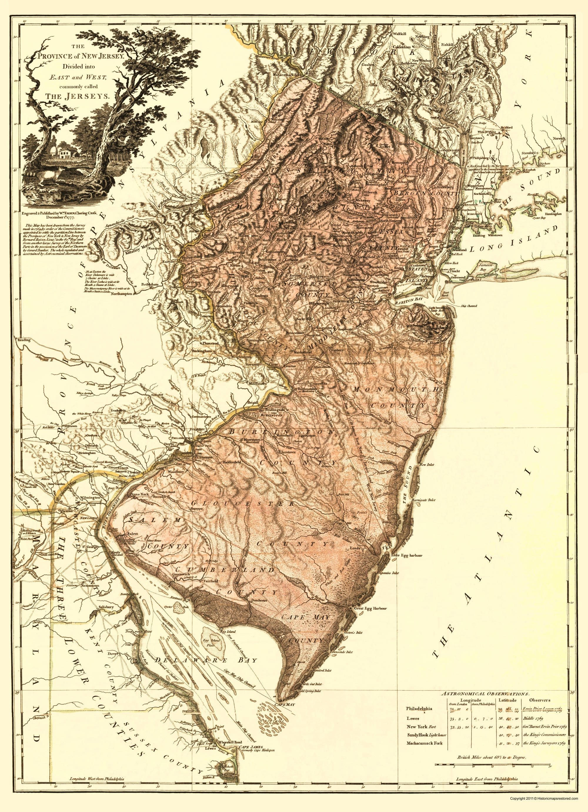 Revolutionary War Map Of New York.Old War Map New Jersey Divided Into East And West 1777