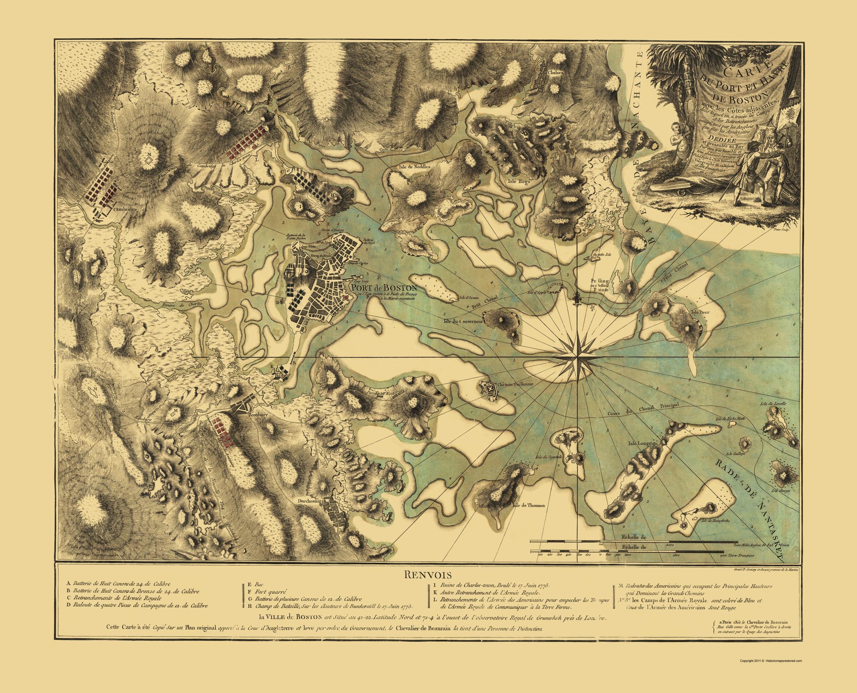 1776 map of boston Old War Map Boston Harbor Massachusetts 1776 1776 map of boston