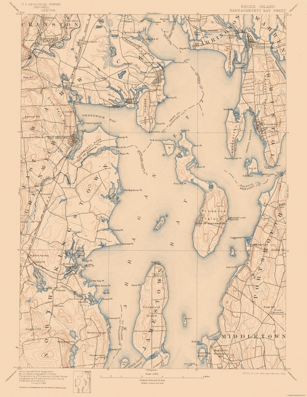 Topographic Map - Narragansett Bay Rhode Island Sheet - USGS 1892 - on map of west warwick ri, map of wakefield ri, map of cranston ri, map of american fork ut, map of ri towns, map of east greenwich ri, map of narragansett bay ri, map of east bay bike path ri, map of pawtucket ri, map of arnoldsburg wv, map of south providence ri, map of browning mt, map of woonsocket ri, map of shannock ri, map of adamsville ri, map of davisville ri, map of spring lake ri, map of south kingstown ri, map of block island ri, map of north kingstown ri,