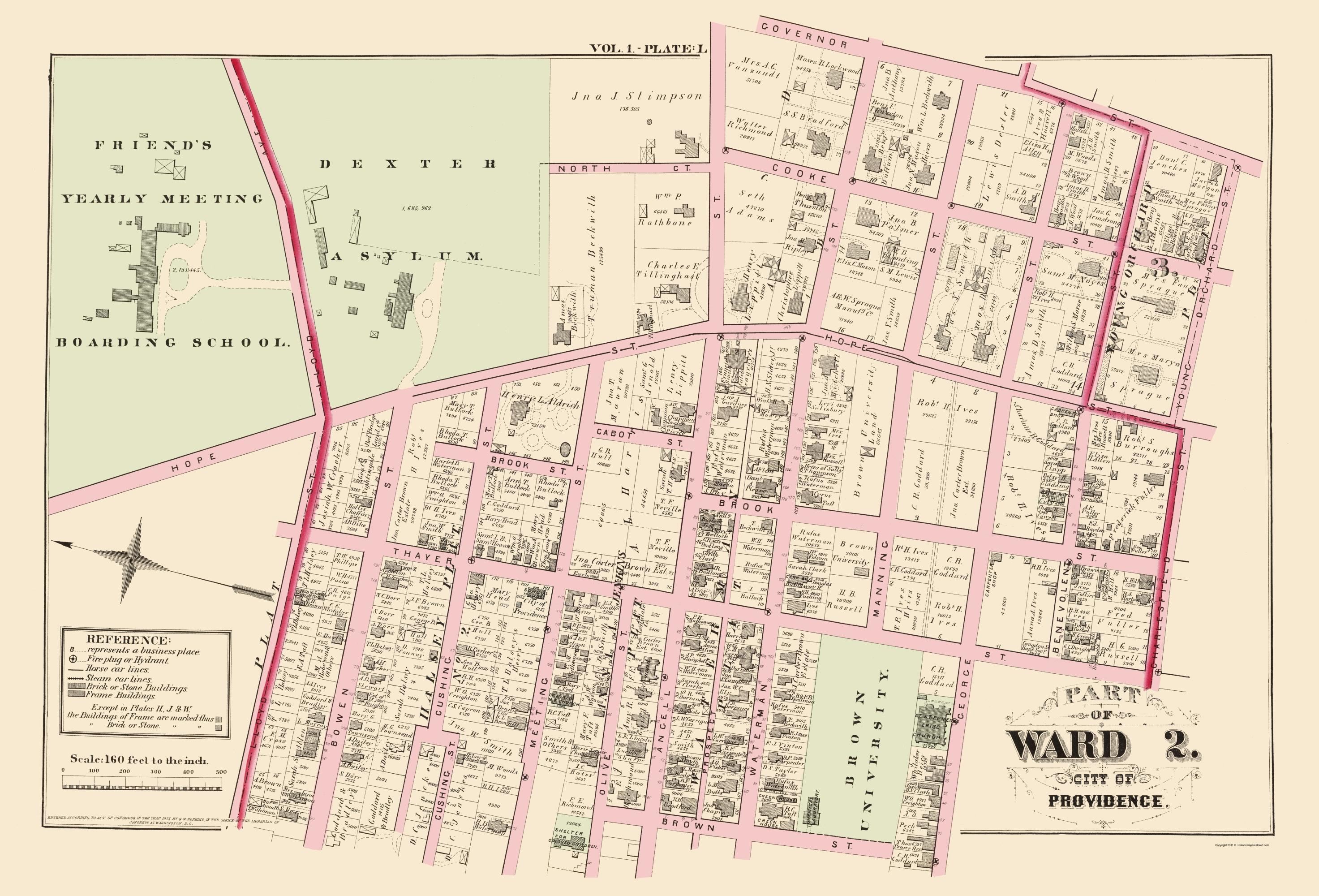 Old City Map Providence Ward  Rhode Island - Rhode island in usa map