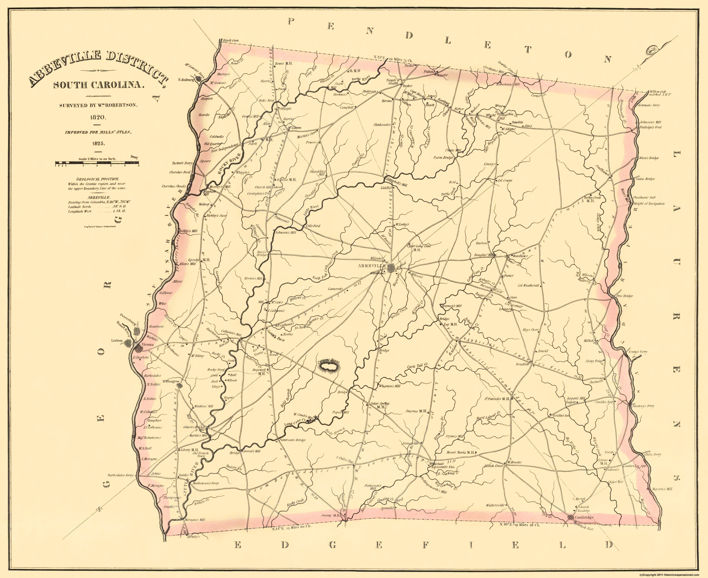 Old County Map Abbeville South Carolina Landowner - Old savannags in us map
