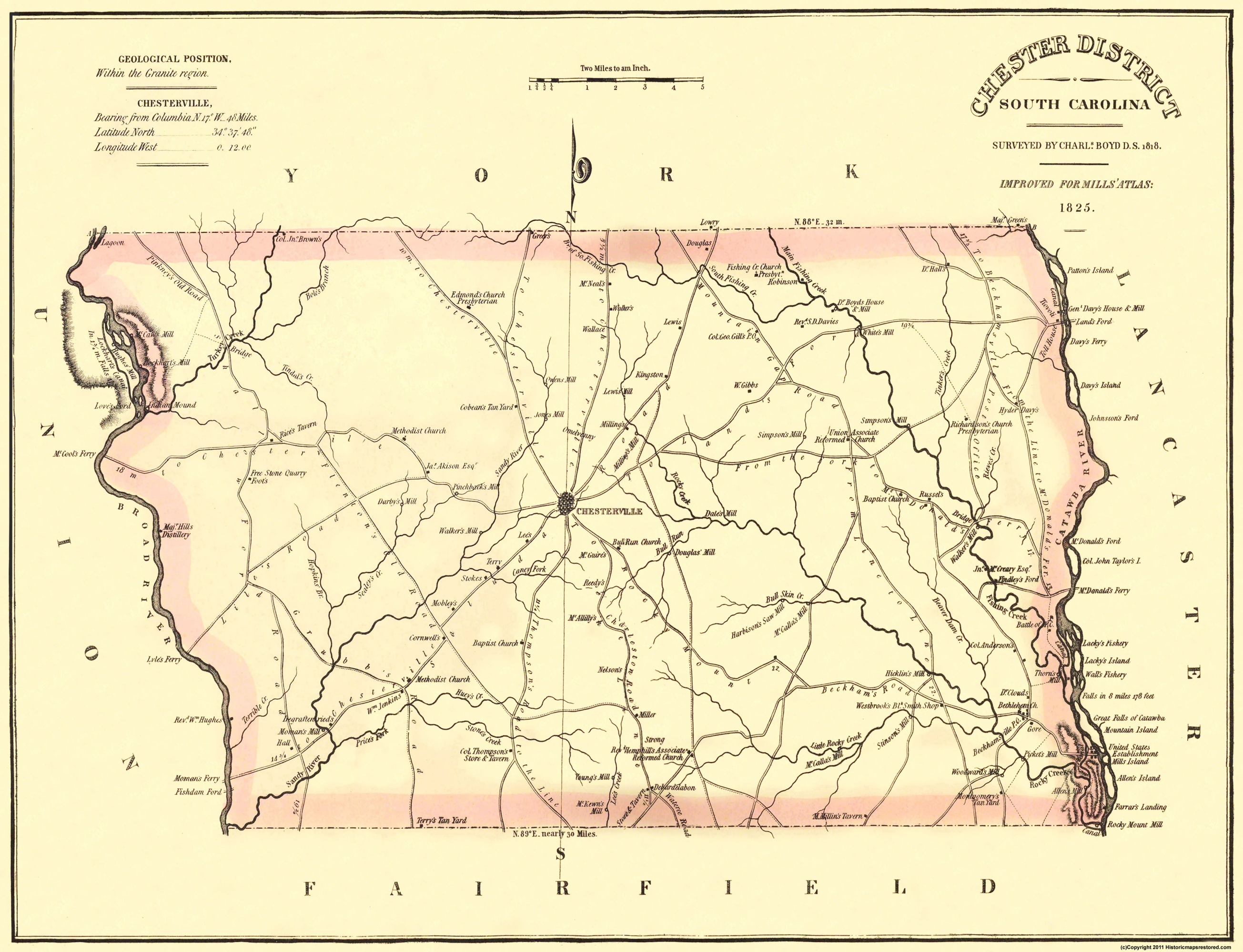 Old County Map - Chester South Carolina Landowner 1825 on