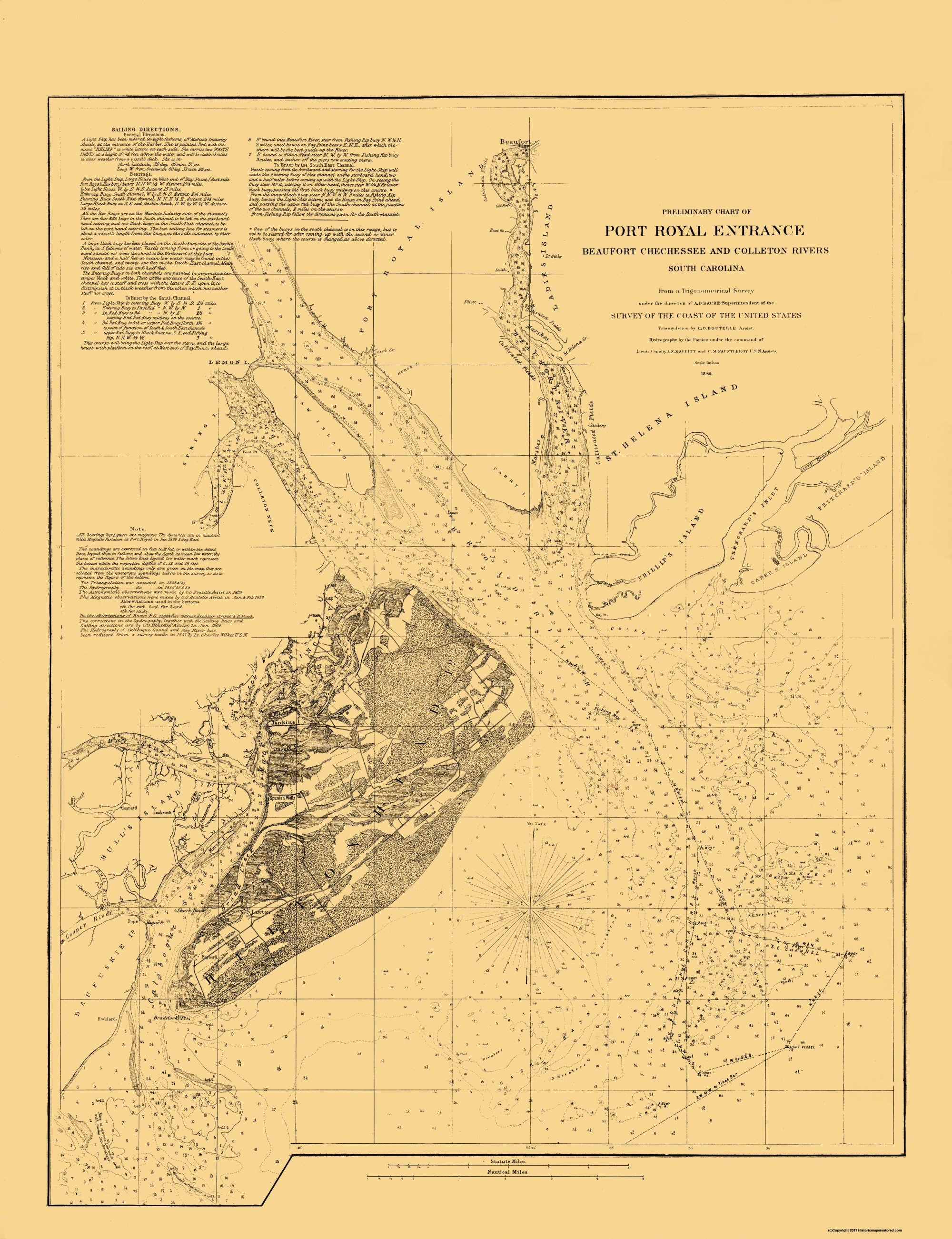Hilton Head Island South Carolina Map.Old Map Hilton Head Island South Carolina Ship Channel
