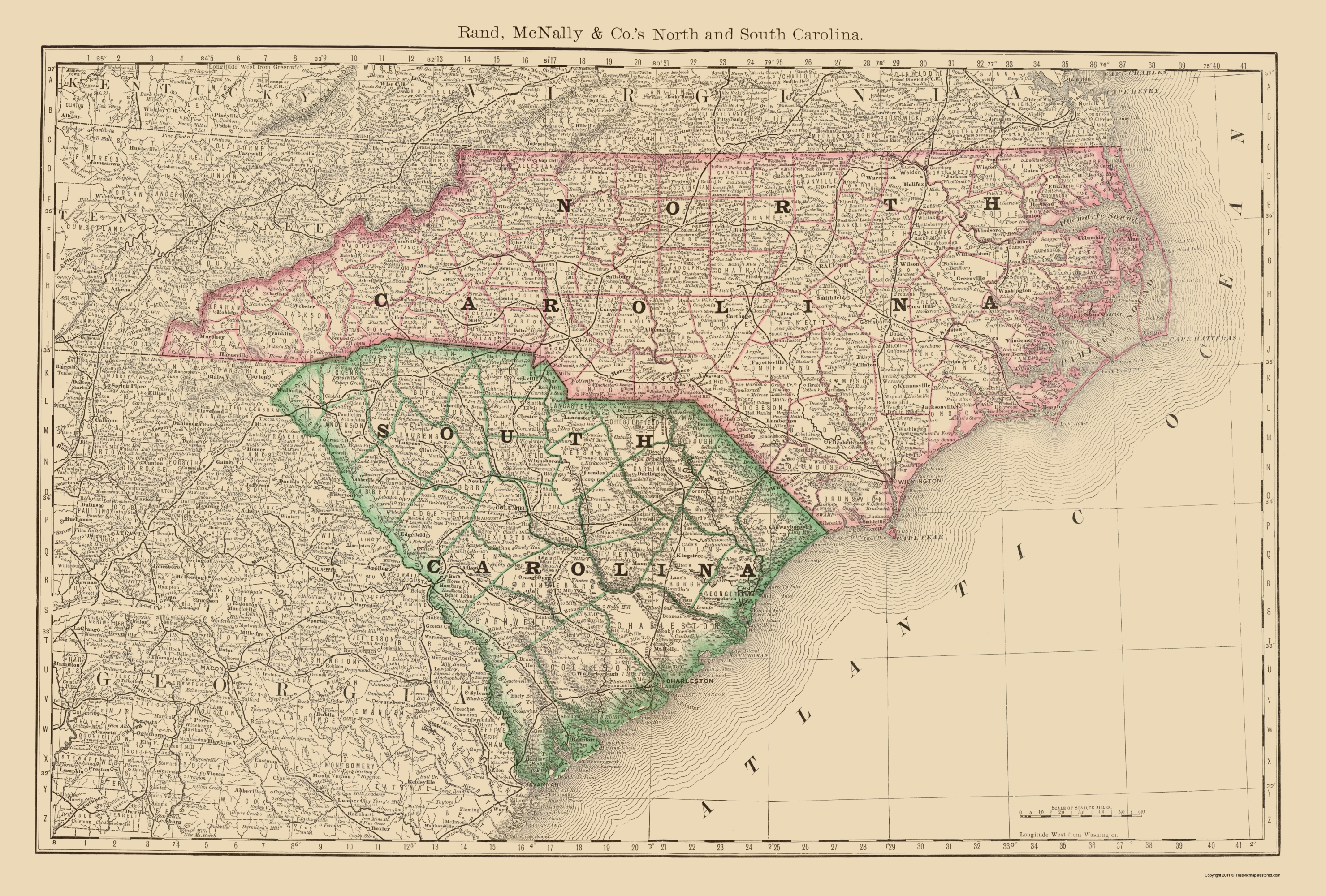 Old State Map - North Carolina, South Carolina - Rand McNally 1879 - 23 x  34.03