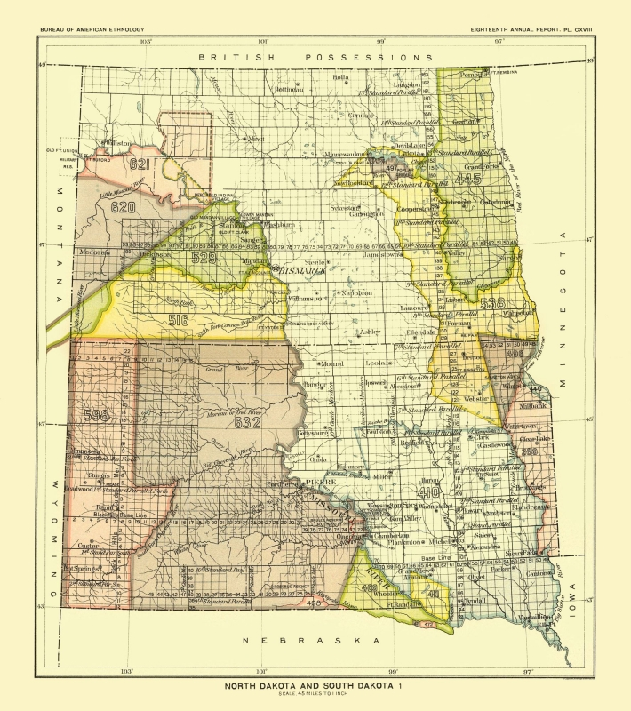 Old State Map - North and South Dakota - Bismarck - Hoen 1896 - 23 x 25.92