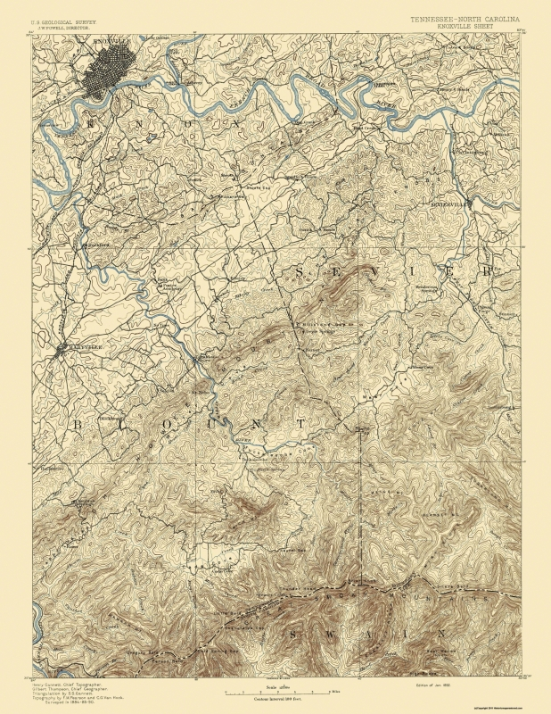 Old Topographical Map Knoxville Tennessee 1892