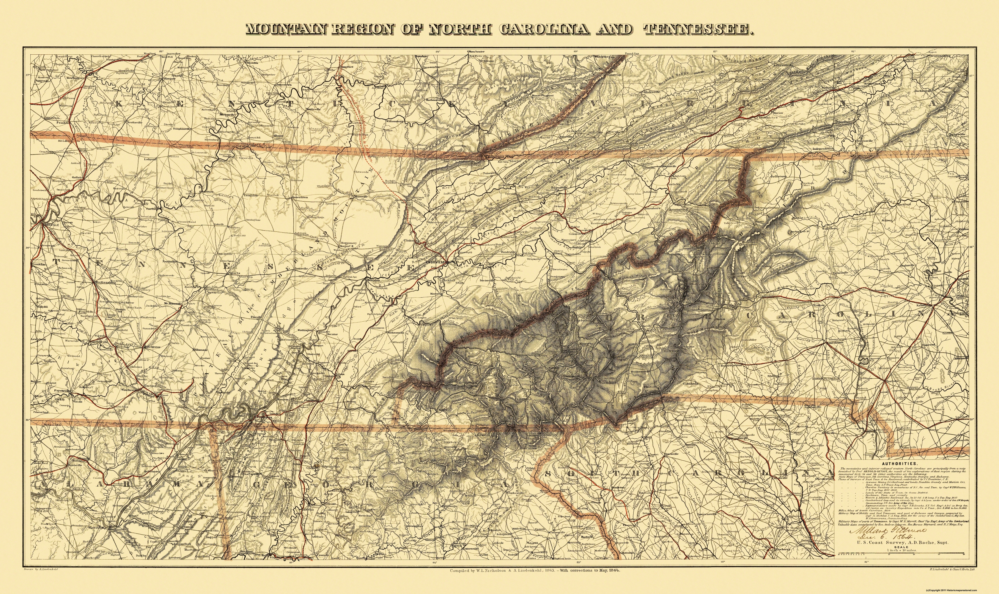 Old Map - Great Smoky Mountain, Region Tennessee 1864