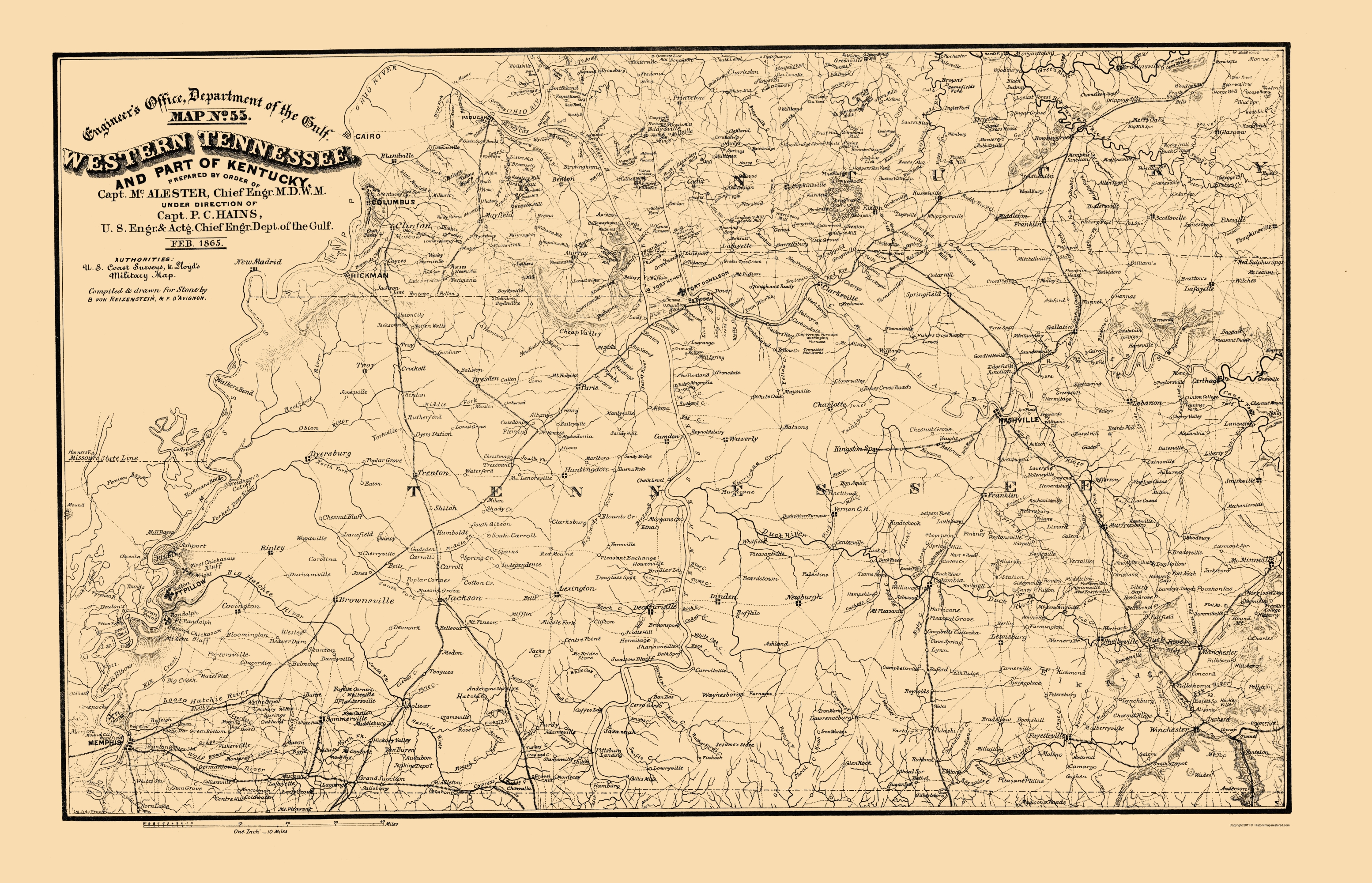 Old State Map West Tennessee Part Of Kentucky - Cumberland river on us map