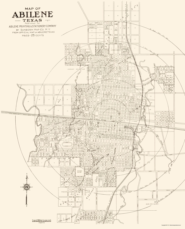 Old City Map Abilene Texas Sanborn 1929