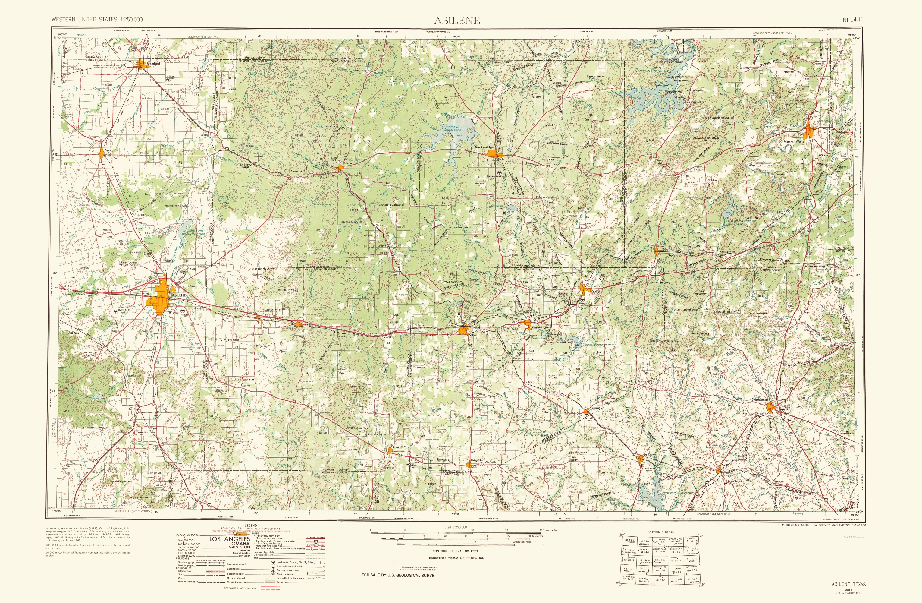 Old Topographical Map - Abilene Texas 1966